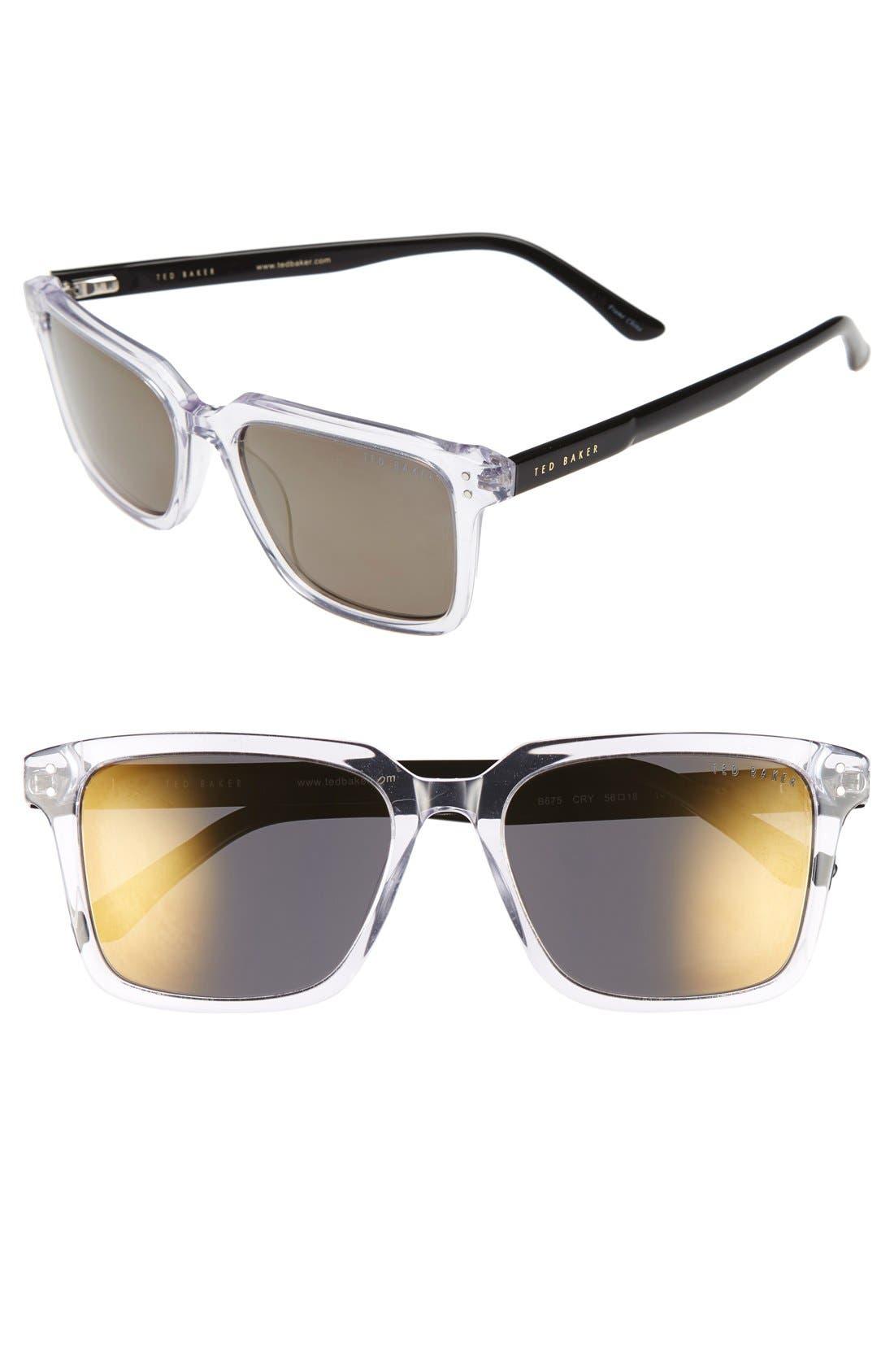 'Tedster' 56mm Polarized Sunglasses,                             Main thumbnail 1, color,                             Crystal