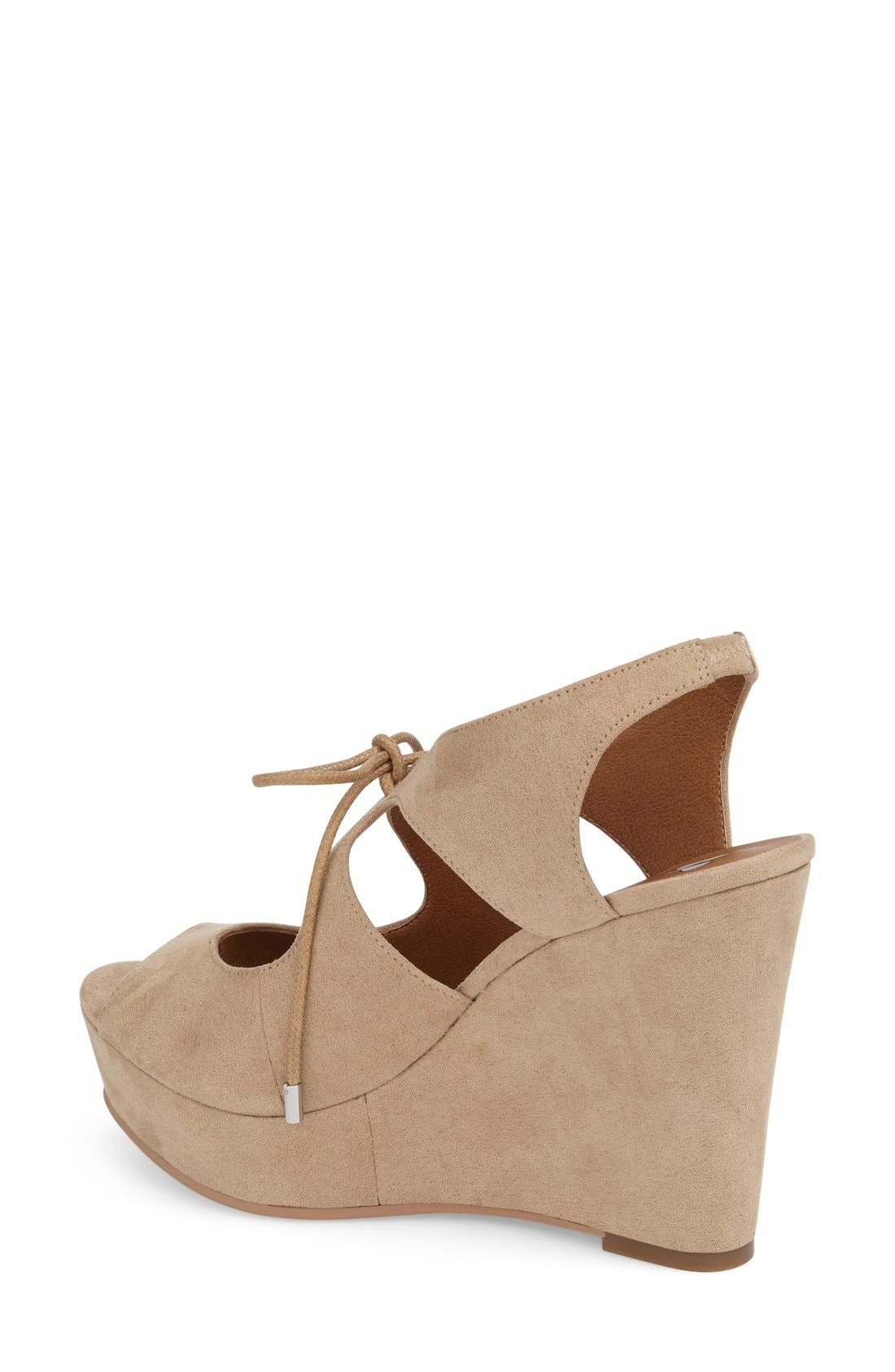 'Solar' Platform Wedge Sandal,                             Alternate thumbnail 2, color,                             Light Taupe Faux Suede