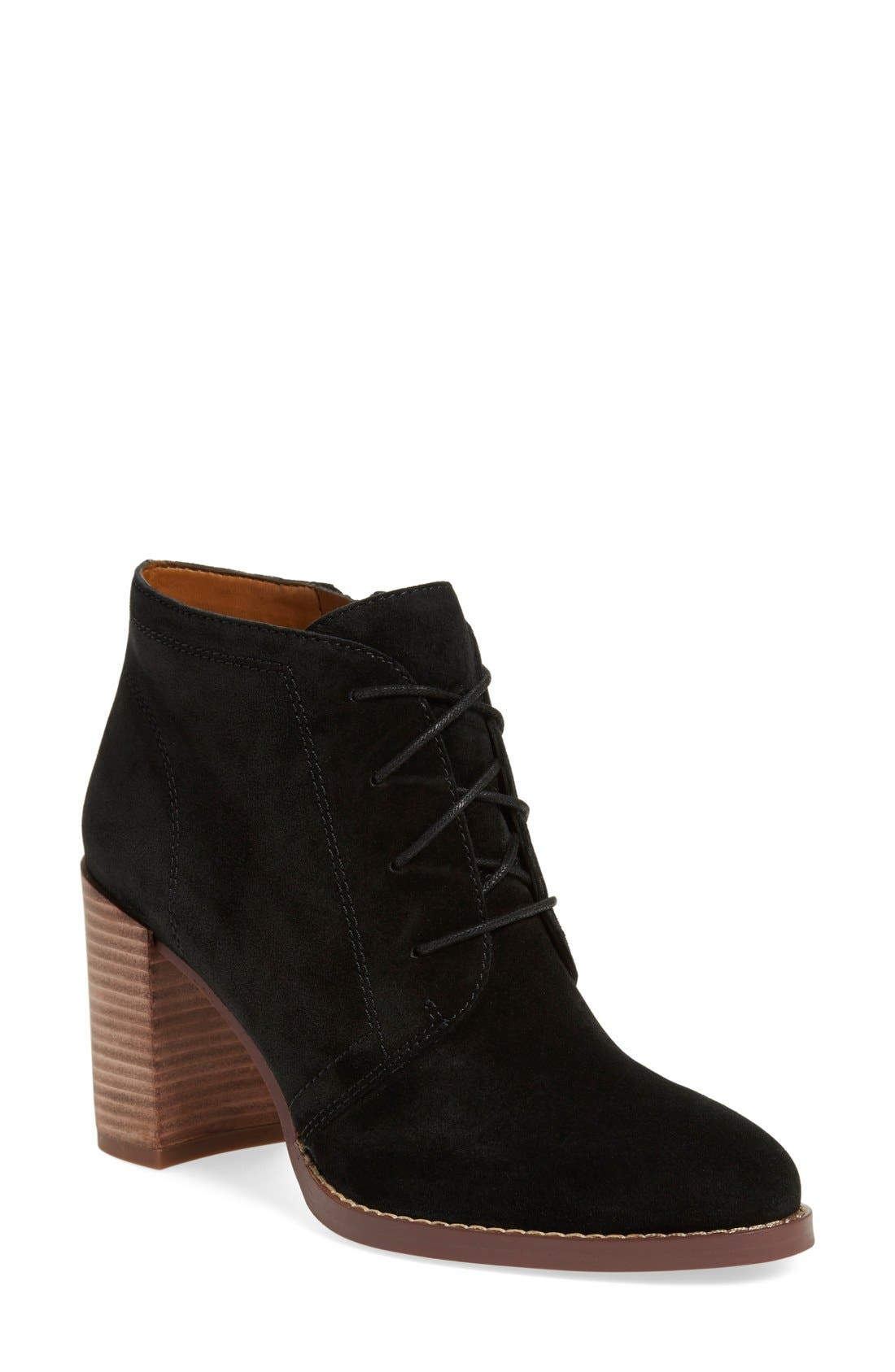 'Omani' Block Heel Bootie,                             Main thumbnail 1, color,                             Black Suede