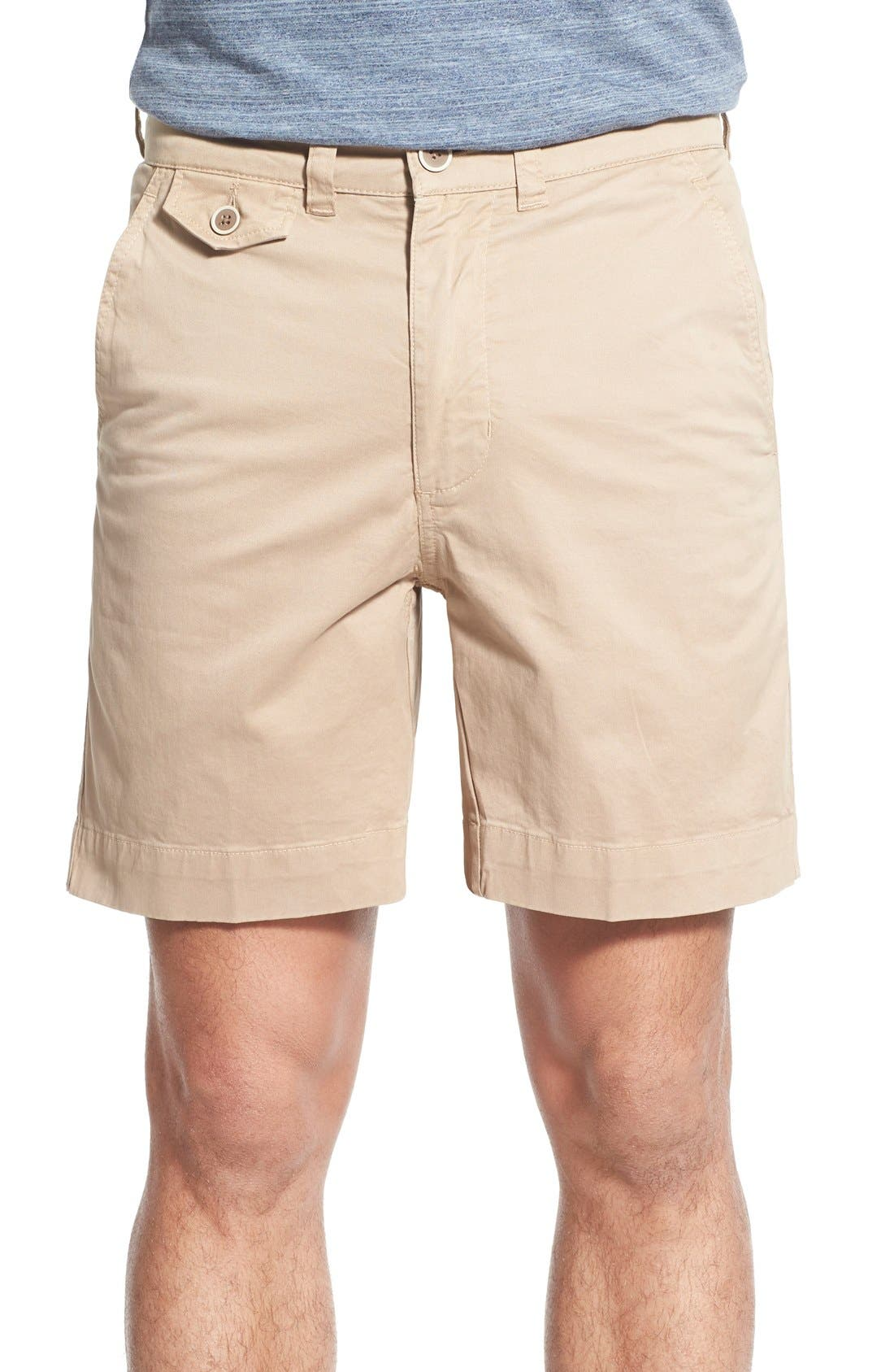 'Sunny' Stretch Twill Chino Shorts,                             Main thumbnail 1, color,                             Khaki