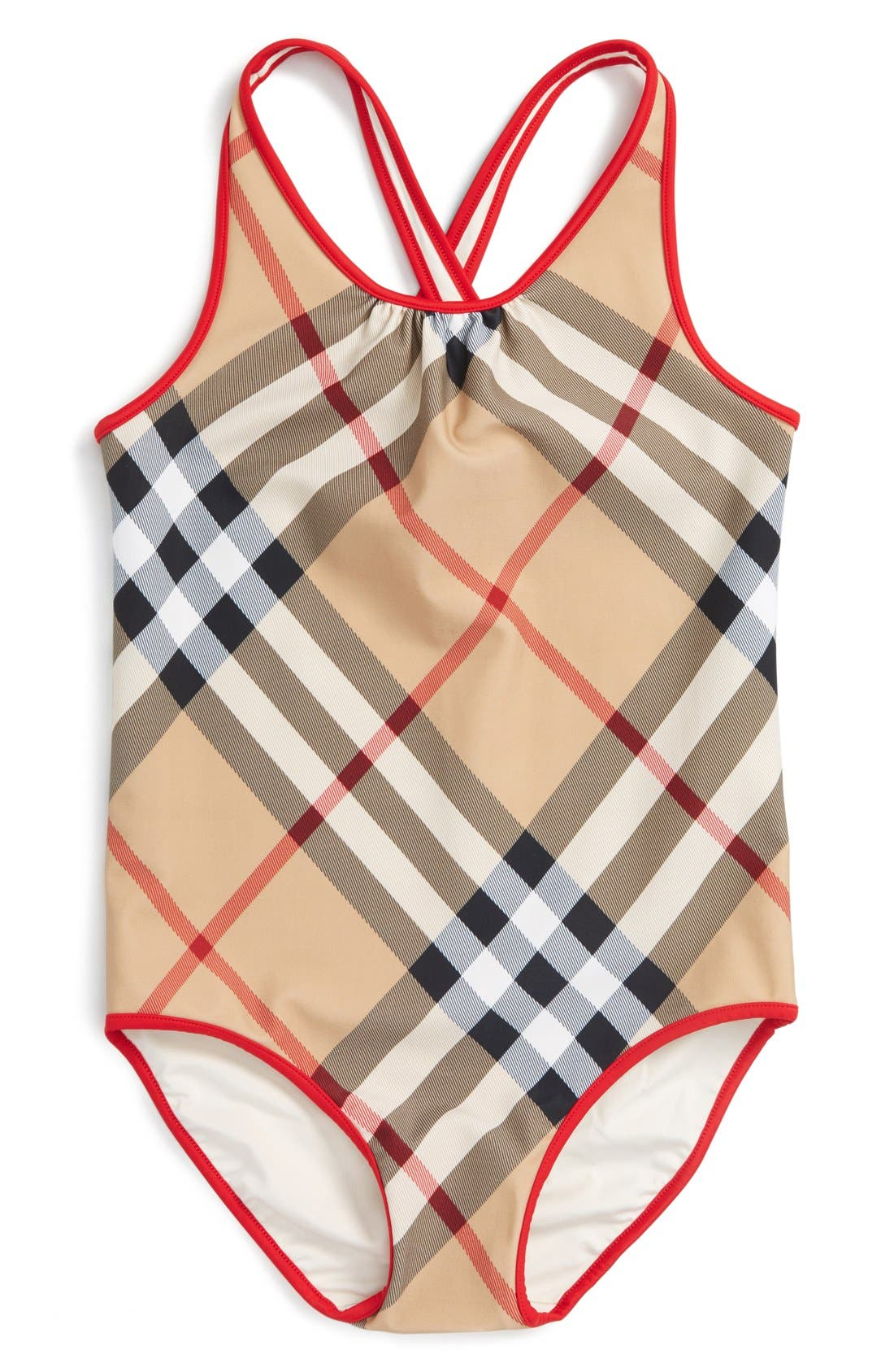 Alternate Image 1 Selected - Burberry 'Beadnell' Check Print One-Piece Swimsuit (Little Girls & Big Girls)