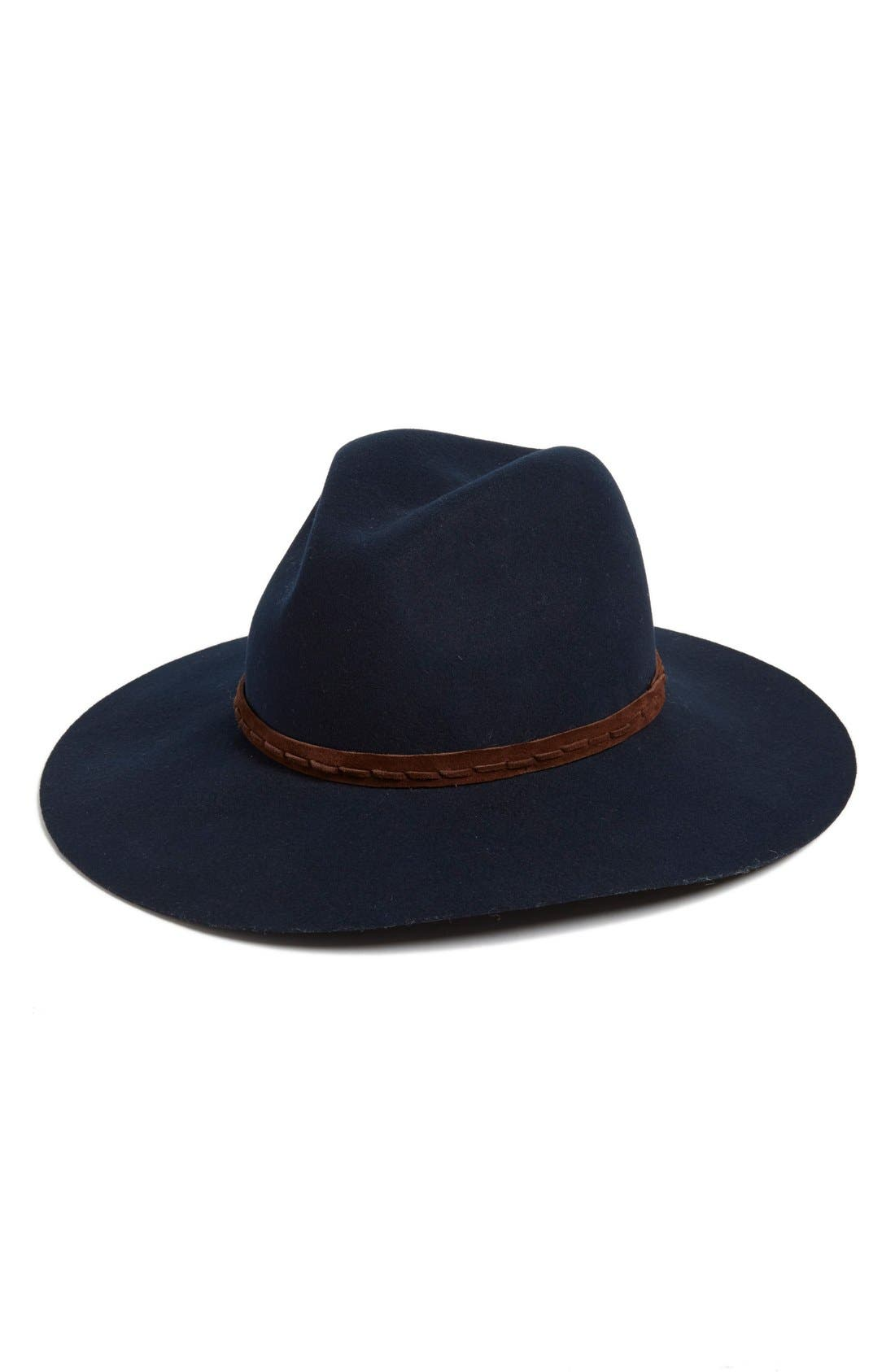 Wide Brim Wool Fedora,                         Main,                         color, Navy