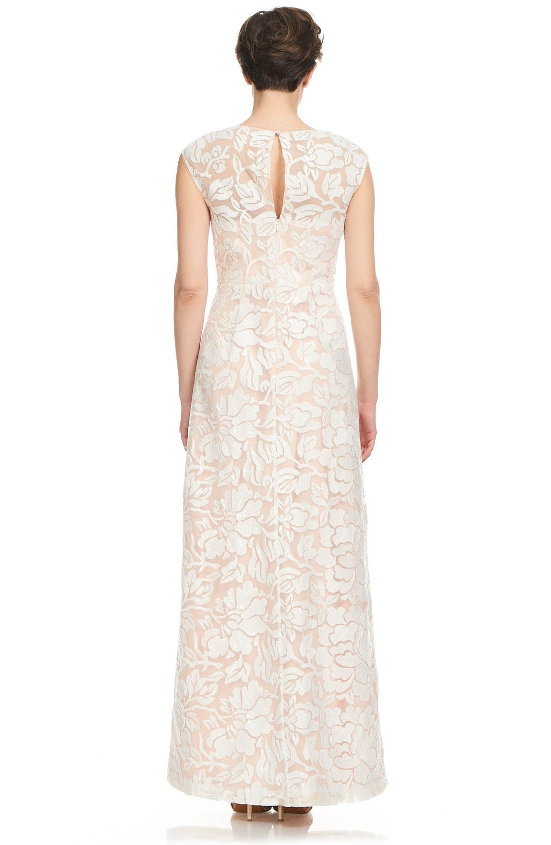 Alternate Image 2  - Kay Unger Illusion Embroidered Gown