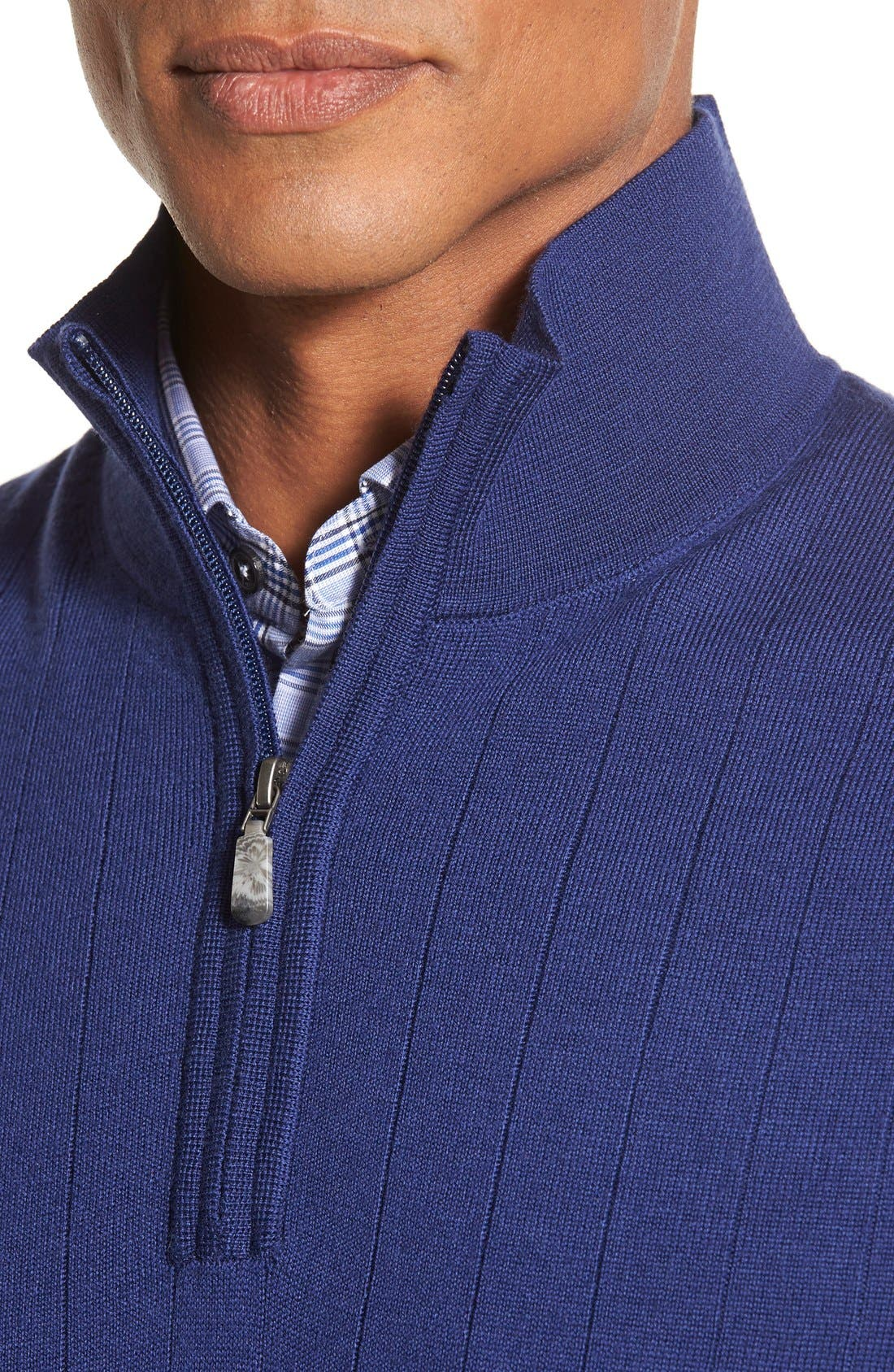 Quarter Zip Wool Sweater Vest,                             Alternate thumbnail 4, color,                             Summer Navy