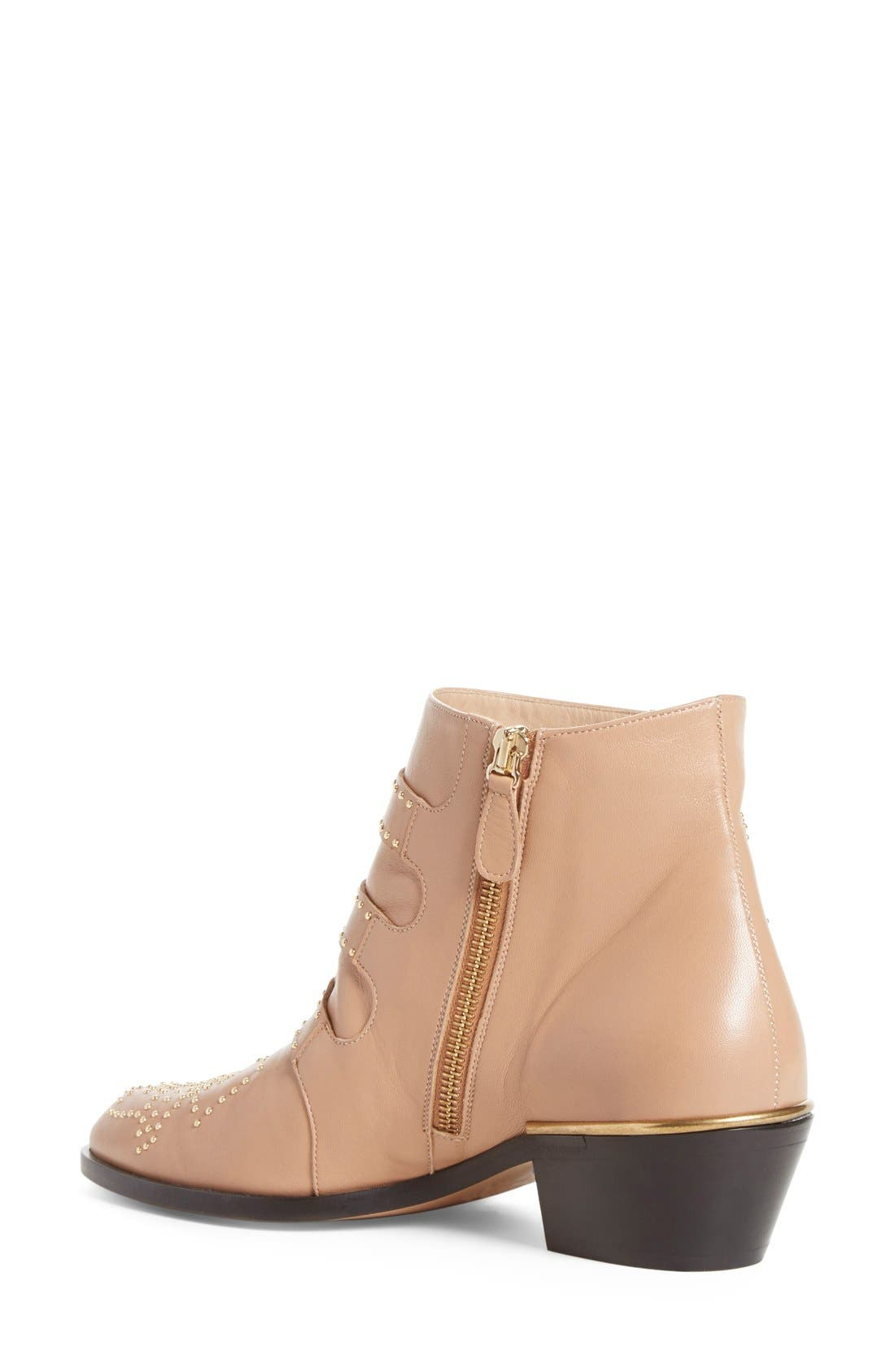 Susanna Stud Buckle Bootie,                             Alternate thumbnail 2, color,                             Beige Gold Leather