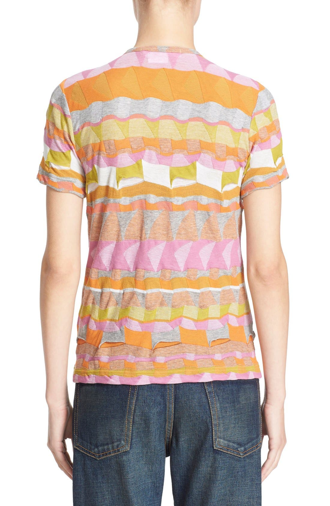 Multi Border Jacquard Top,                             Alternate thumbnail 2, color,                             Pink/ Orange