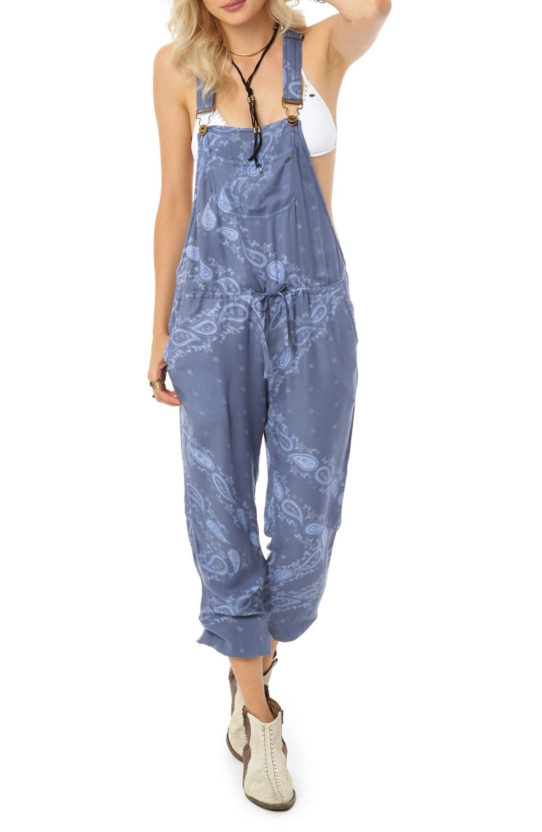 Alternate Image 1 Selected - O'Neill 'Carolina' Paisley Print Overalls