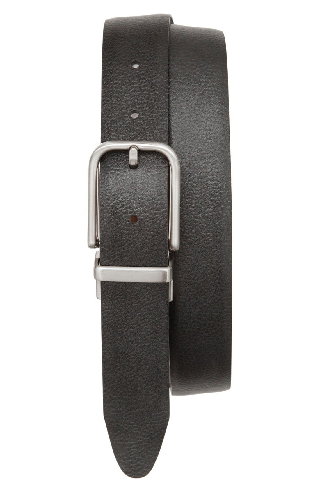 Reversible Leather Belt,                             Main thumbnail 1, color,                             Tan/ Black