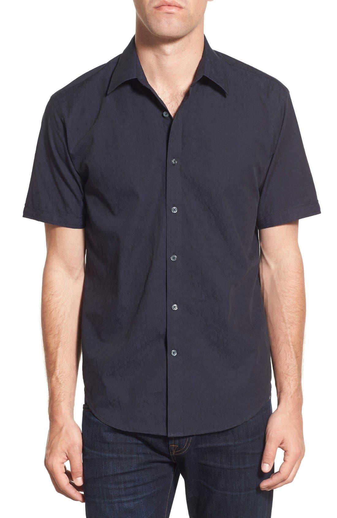 James Campbell 'Rabaul' Regular Fit Swirl Jacquard Short Sleeve Sport Shirt