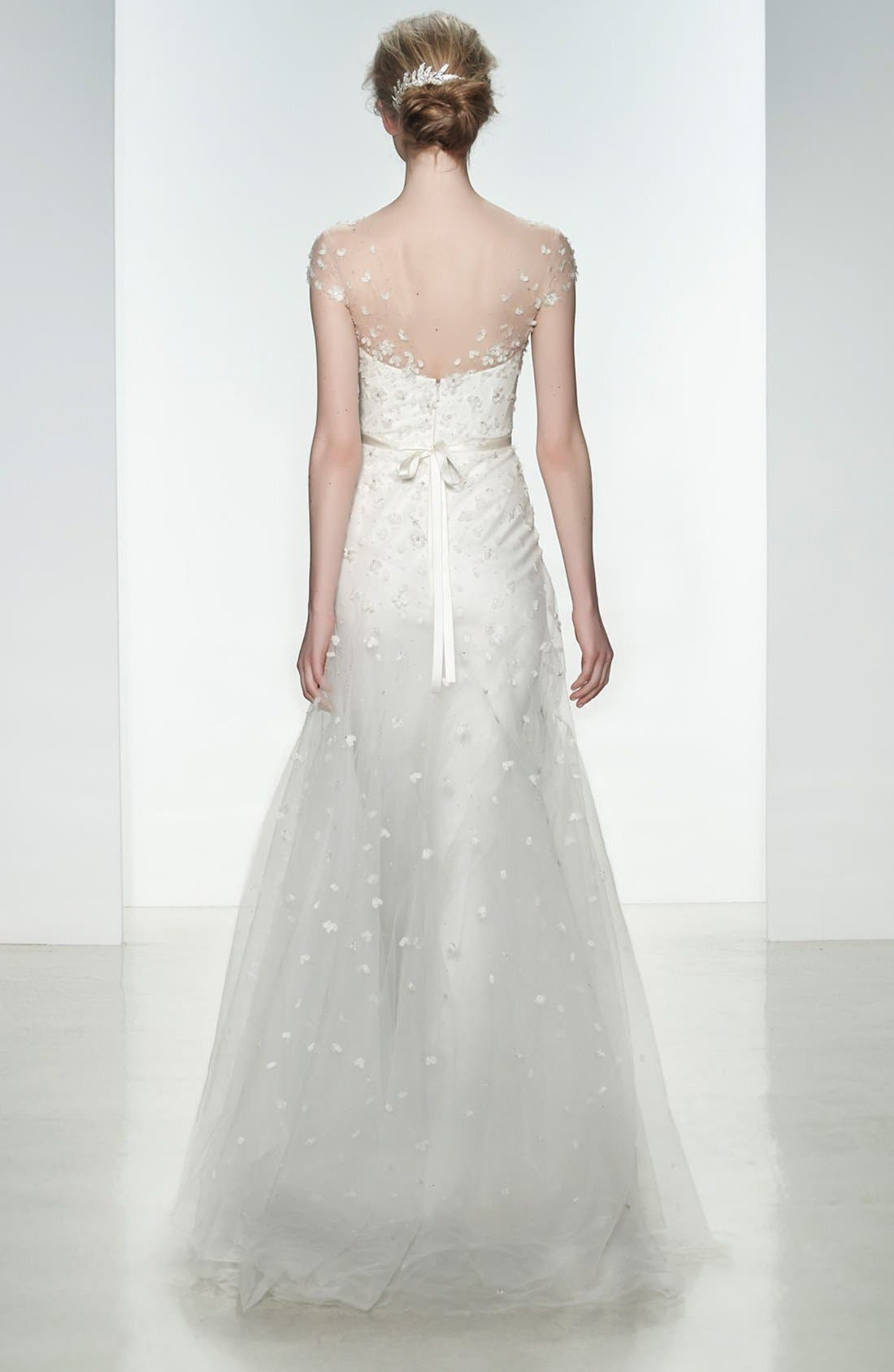 Alternate Image 2  - Christos Bridal Ellie Embellished Illusion Neck Tulle Gown