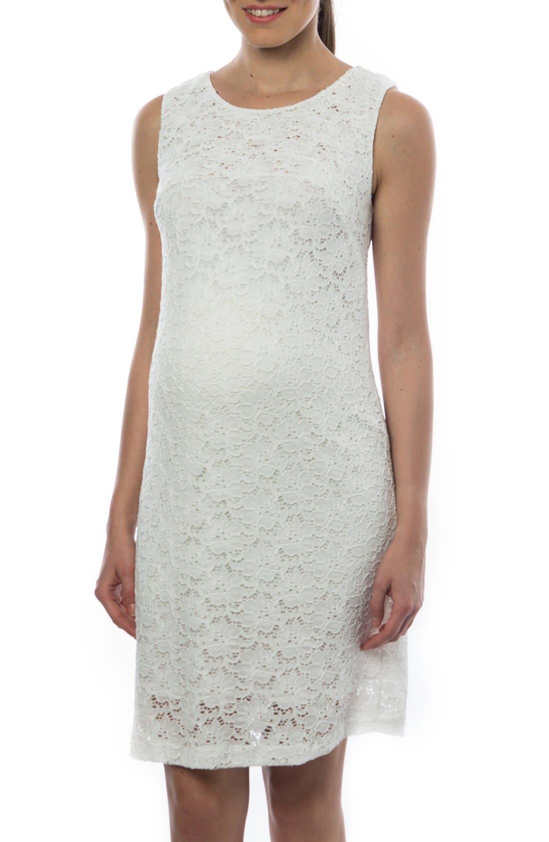 'Danubio' Lace Maternity Shift Dress,                         Main,                         color, White