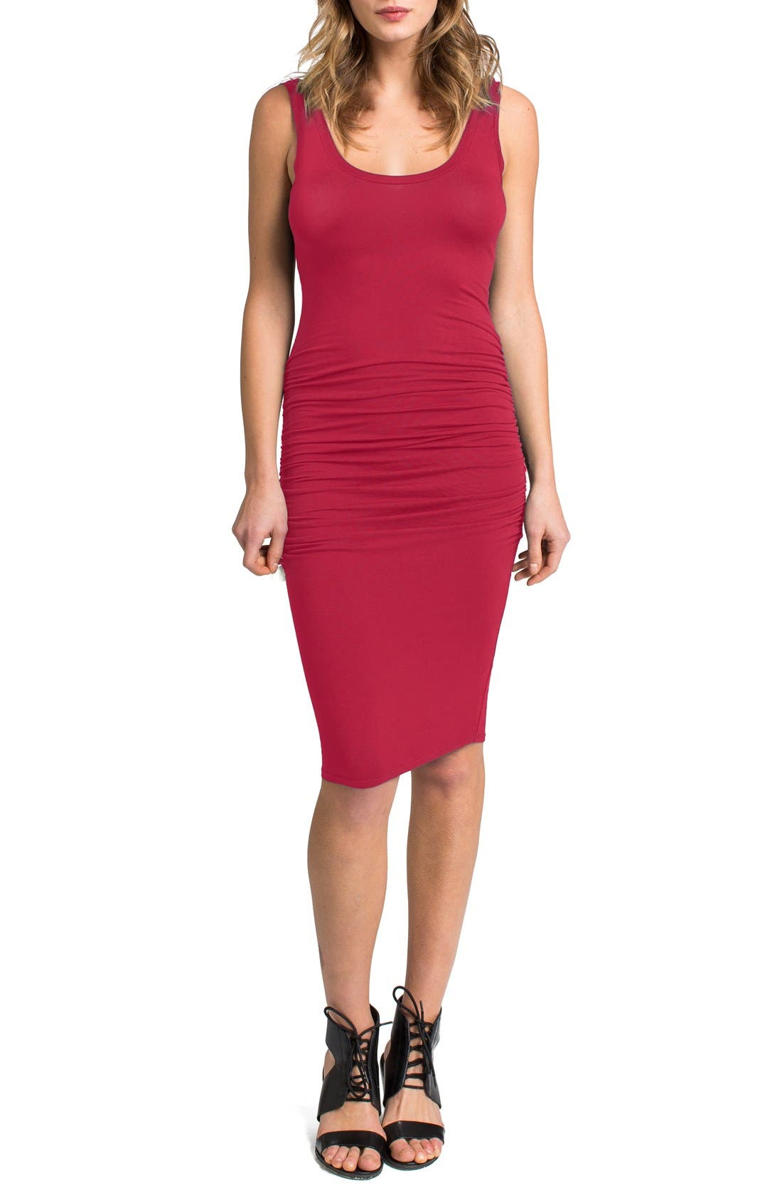 'Frankie' Ruched Tank Dress,                         Main,                         color, Geranium Red