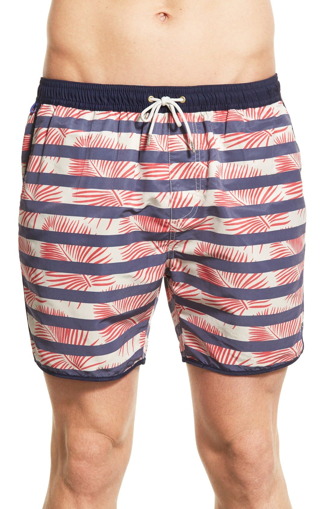 Scotch & Soda Tropical Stripe Print Swim Trunks