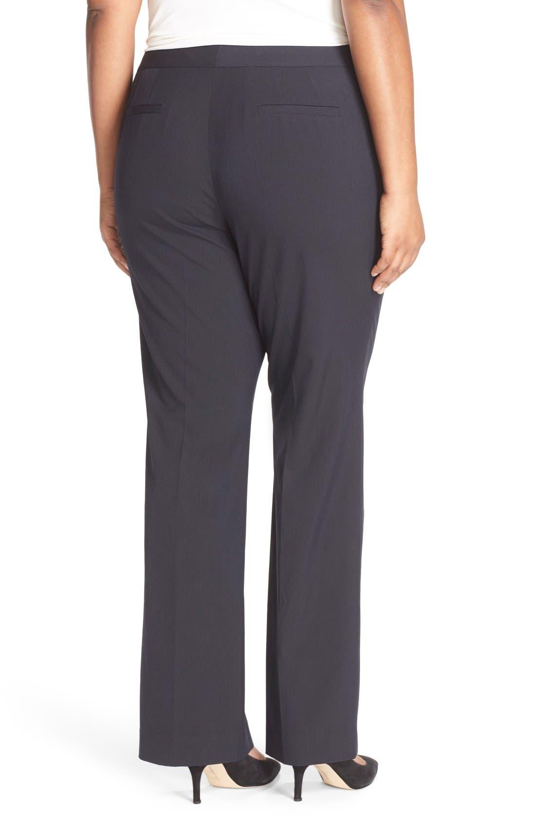 'Ela' Stretch Curvy Fit Wide Leg Suit Pants,                             Alternate thumbnail 2, color,                             Navy Midnight