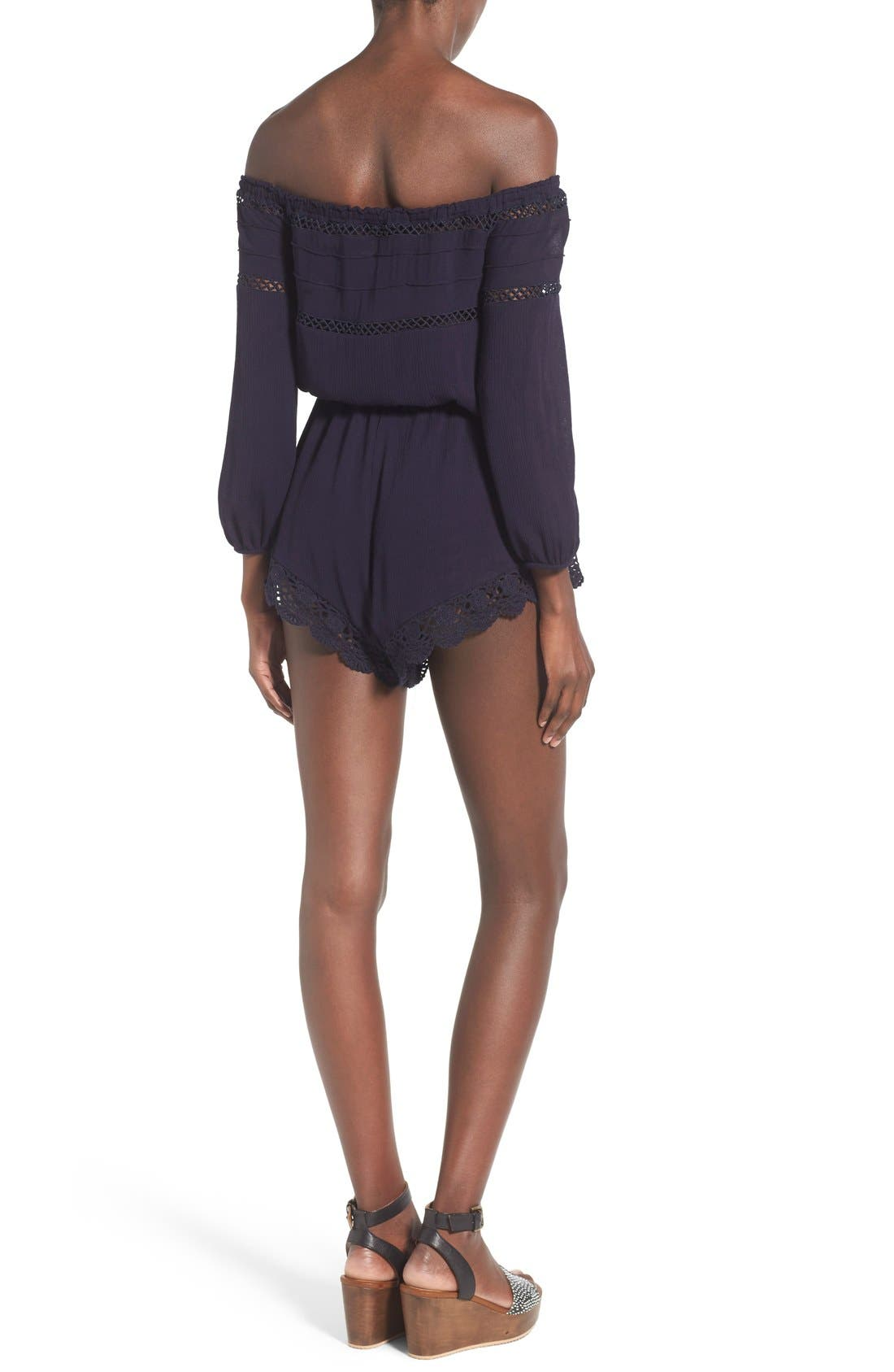Alternate Image 2  - Sun & Shadow Lace Trim Off the Shoulder Romper