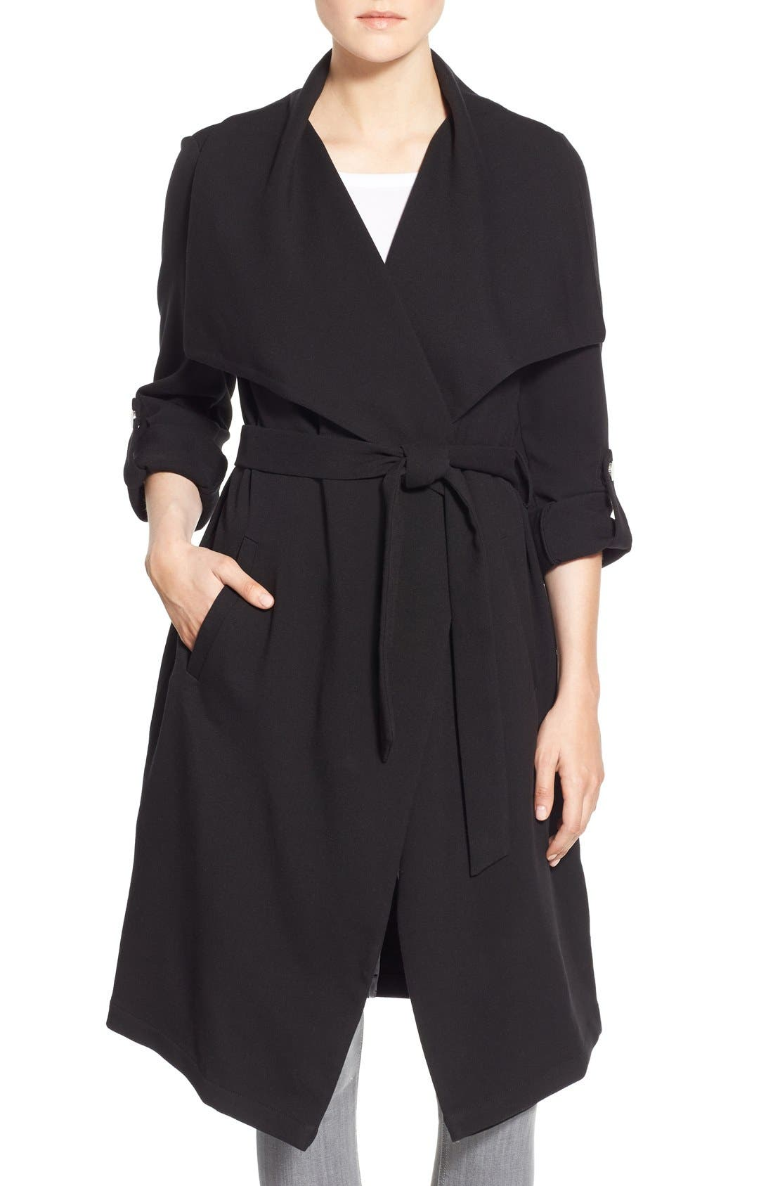 Roll Sleeve Drape Front Long Trench Coat,                         Main,                         color, Black