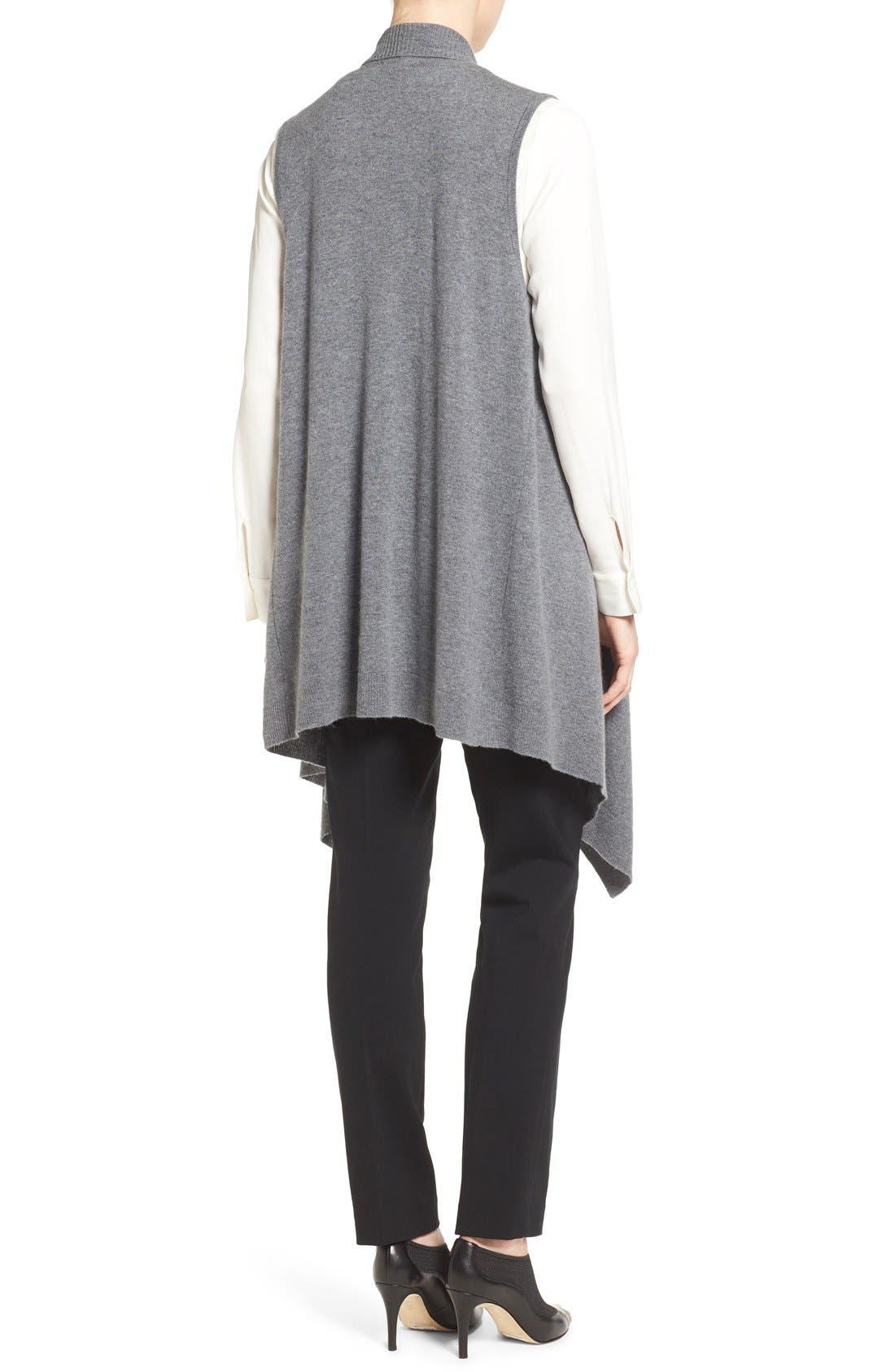Wool & Cashmere Drape Front Sweater Vest,                             Alternate thumbnail 2, color,                             Heather Dark Grey