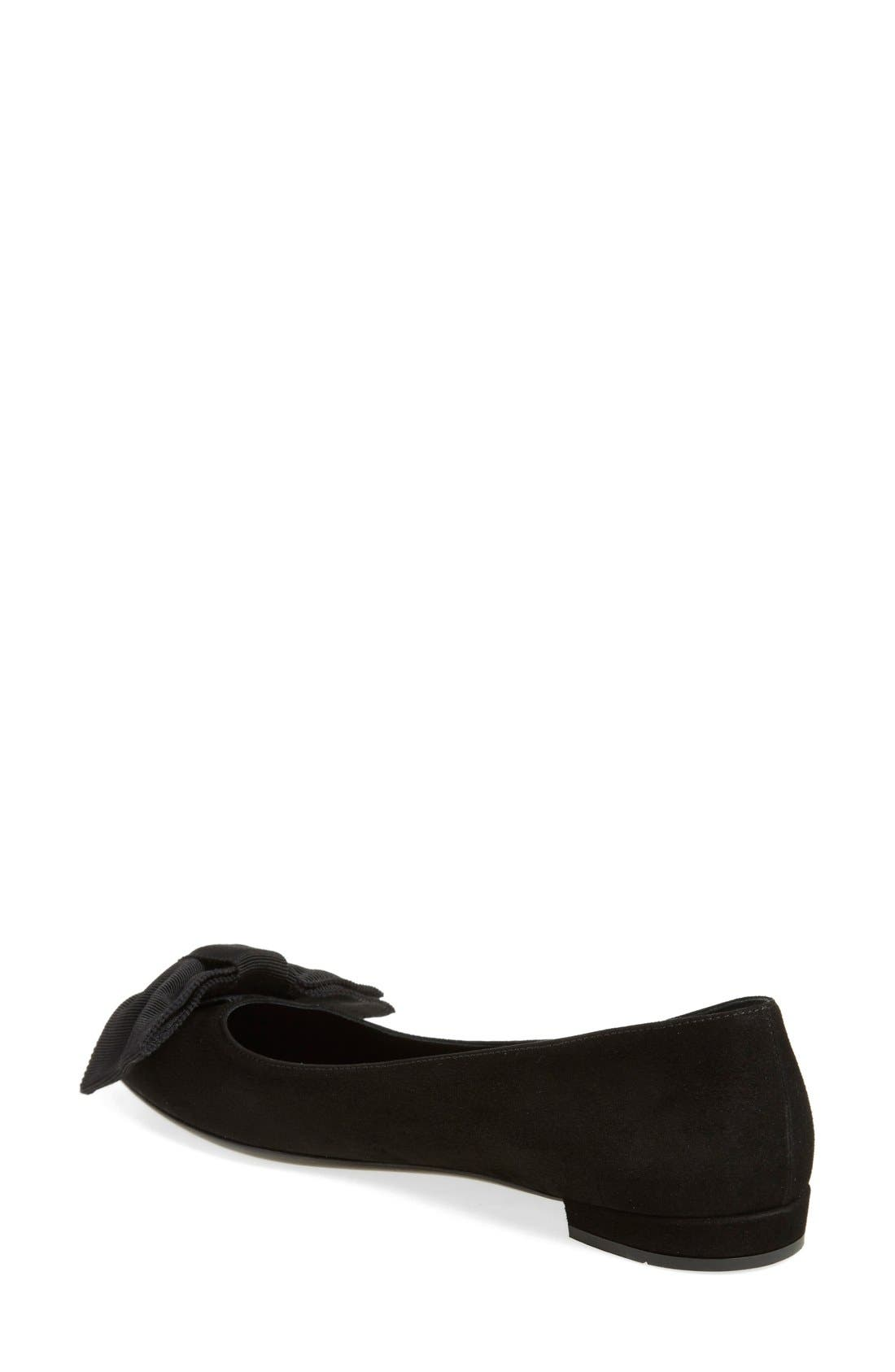 Pointy Toe Ballet Flat,                             Alternate thumbnail 2, color,                             Black