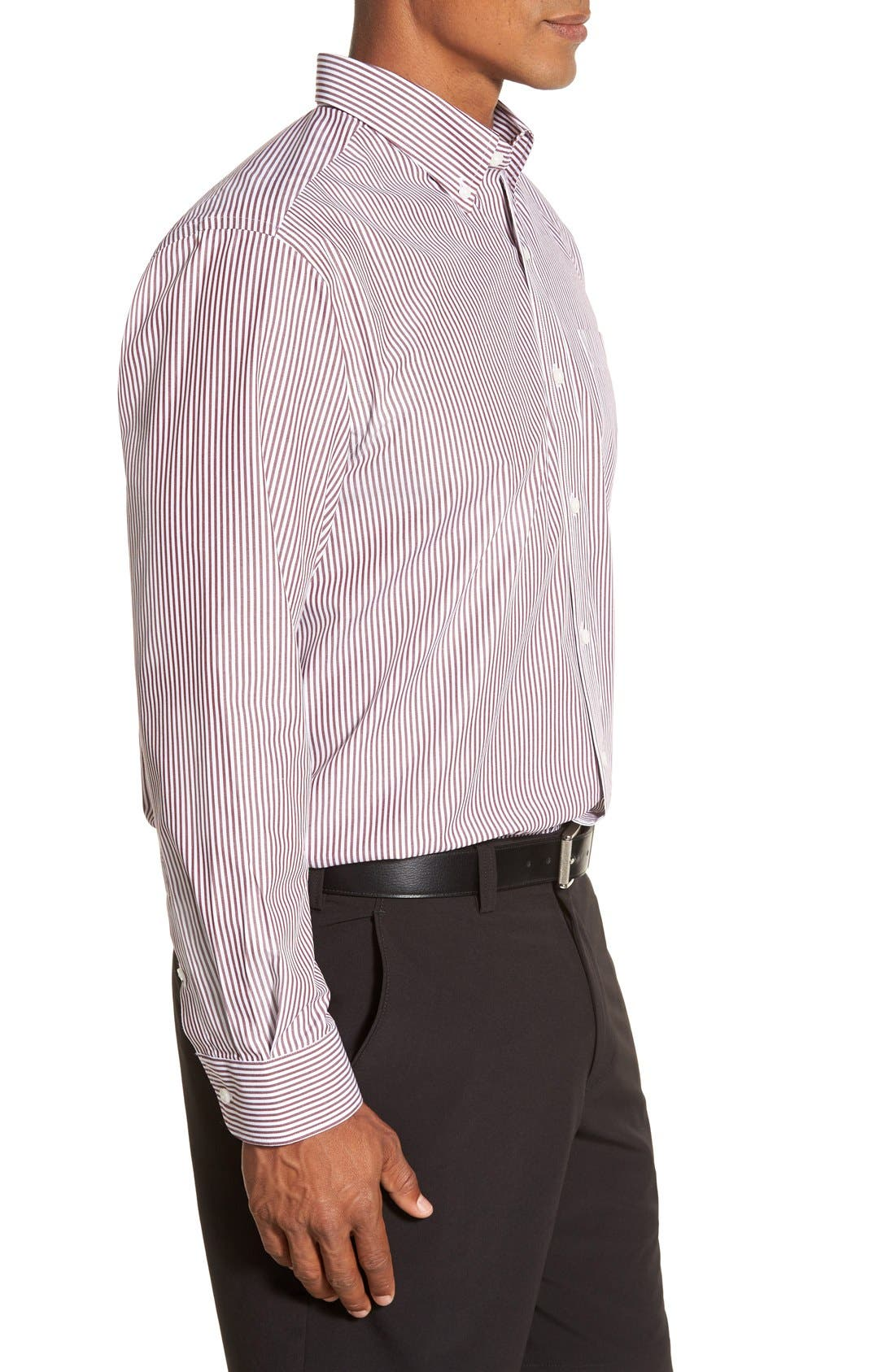 'Epic Easy Care' Regular Fit Mini Bengal Stripe Sport Shirt,                             Alternate thumbnail 3, color,                             Bordeaux