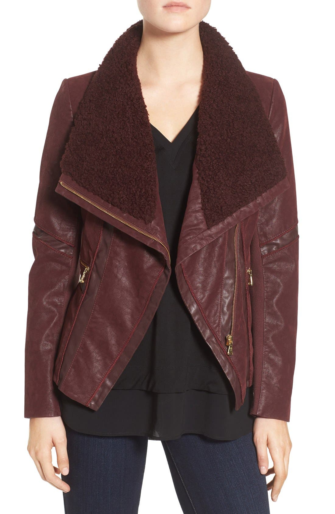 Alternate Image 1 Selected - GUESS Faux Leather Moto Jacket with Faux Fur Trim