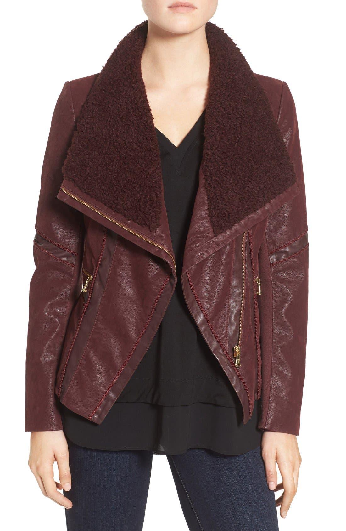 GUESS Faux Leather Moto Jacket with Faux Fur Trim