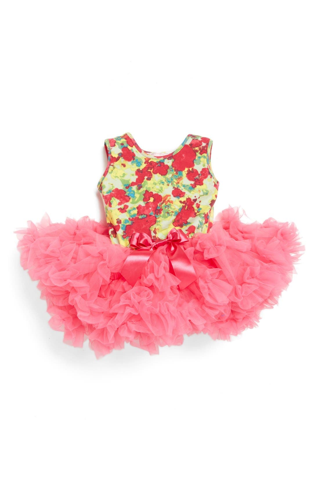 Floral Print Sleeveless Dress,                         Main,                         color, Hot Pink