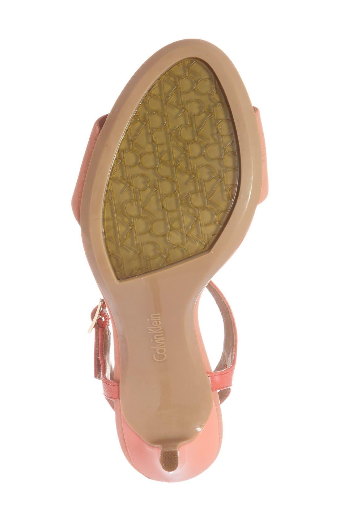 'Nadina' Ankle Strap Sandal,                             Alternate thumbnail 4, color,                             Salmon/ Deep Coral Leather