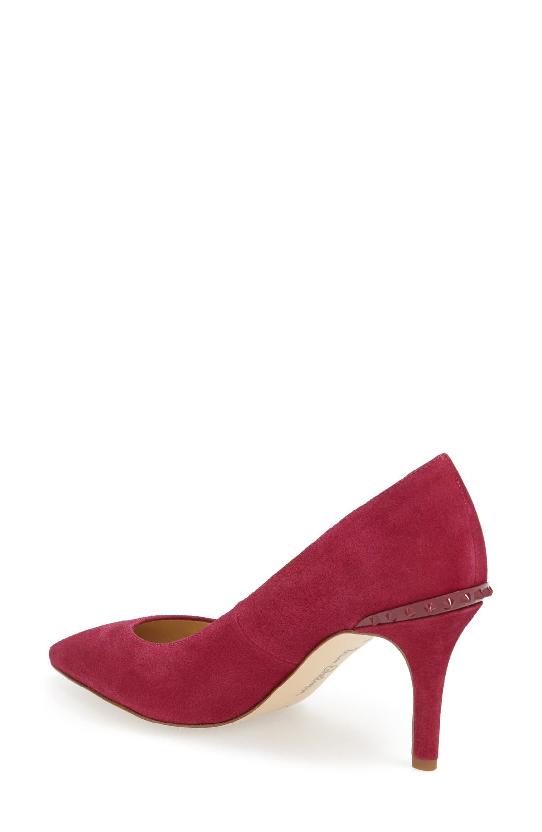 'Tonia' Spike Rand Pointy Toe Pump,                             Alternate thumbnail 2, color,                             Pink Suede