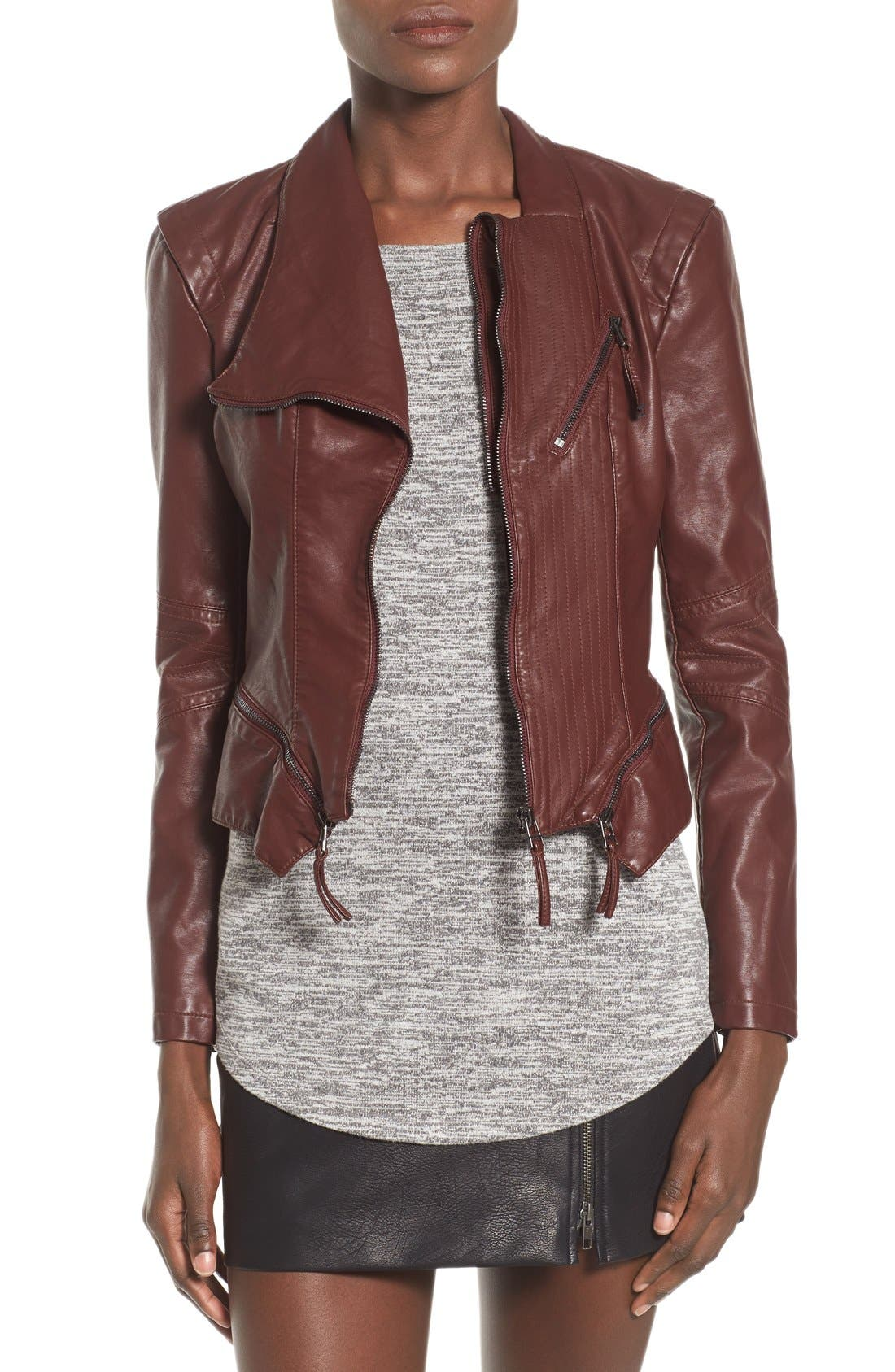 Faux Leather Jacket,                             Main thumbnail 1, color,                             Touch And Go