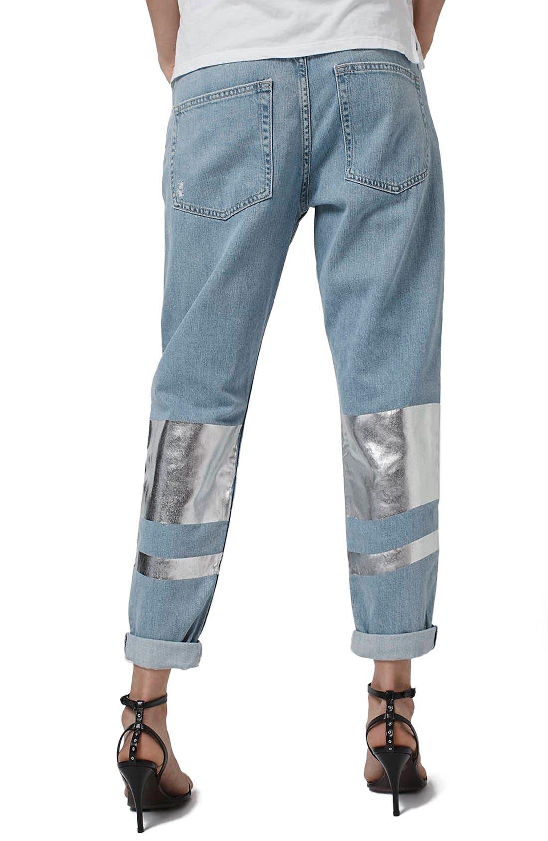 Alternate Image 3  - Topshop 'Hayden' Silver Stripe Boyfriend Jeans (Petite)