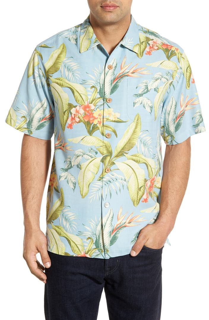 Tommy bahama 39 st tropez ol 39 original fit silk camp shirt for Do tommy bahama shirts run big