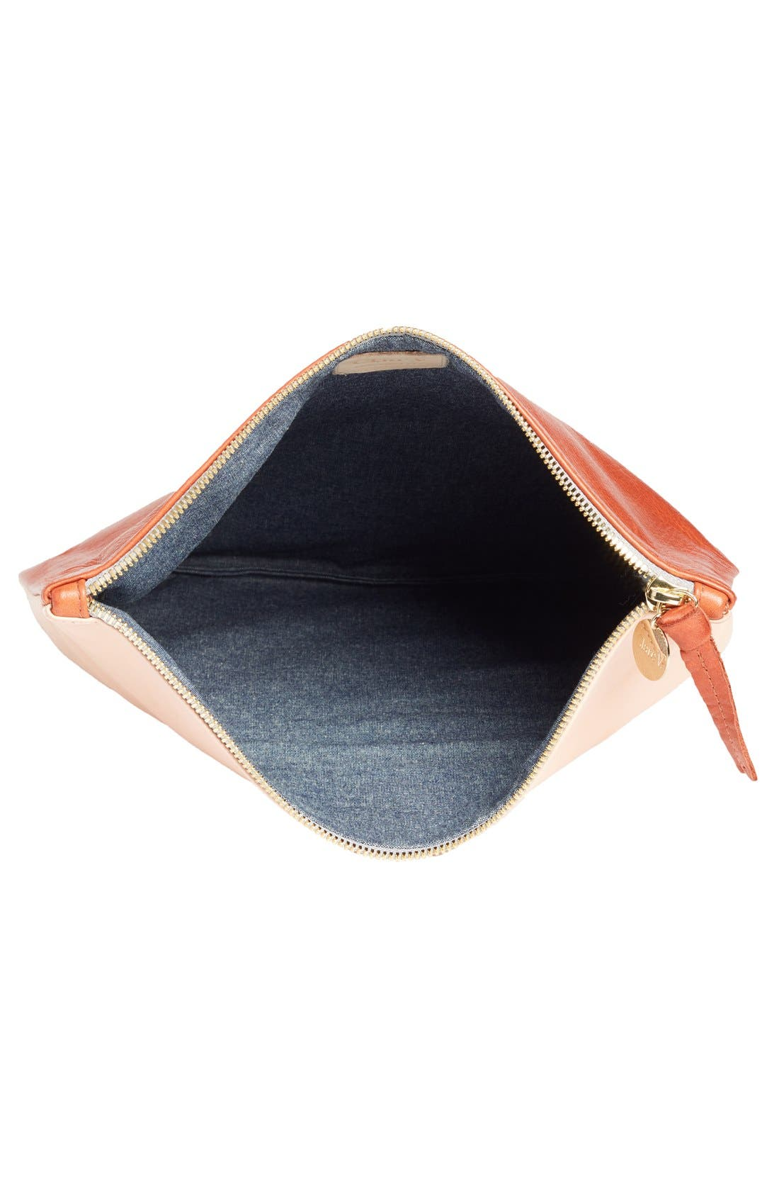 Alternate Image 4  - Clare V. Colorblock Leather Foldover Clutch