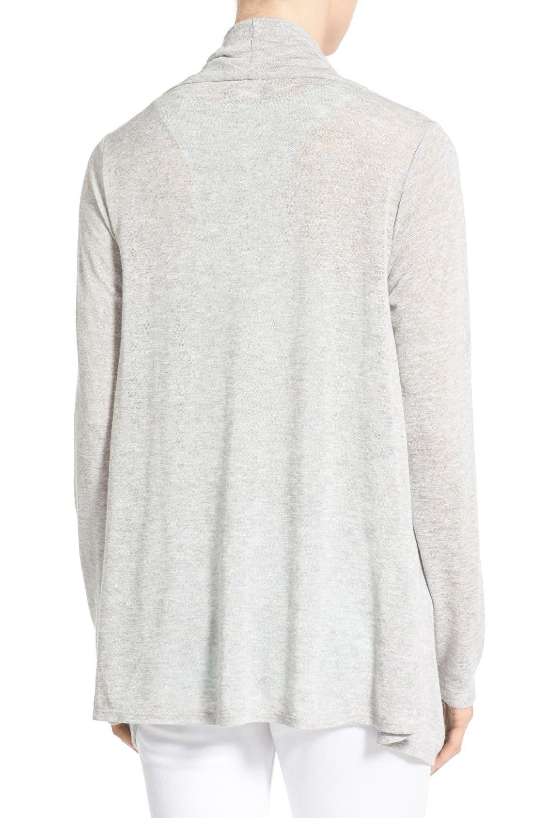 Alternate Image 2  - Bobeau Lightweight One-Button Asymmetrical Cardigan (Regular & Petite)