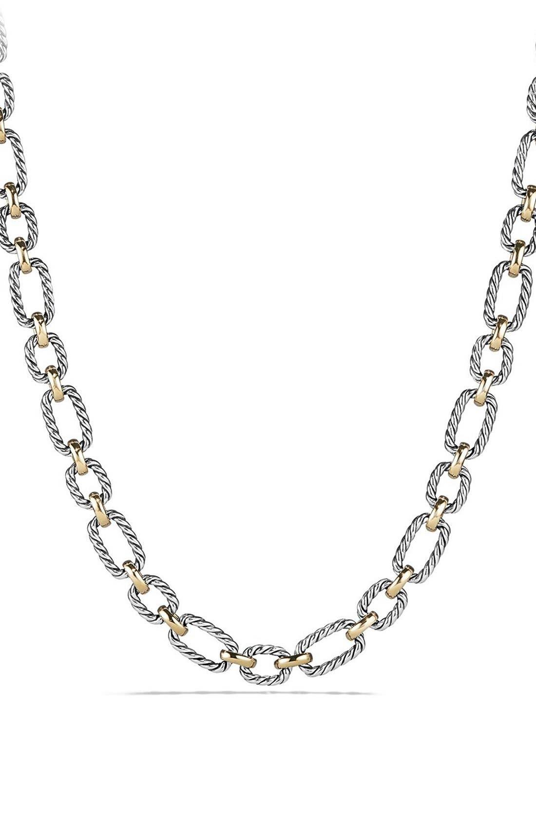 Main Image - David Yurman 'Chain' Cushion Link Necklace with Sapphires & 18K Gold