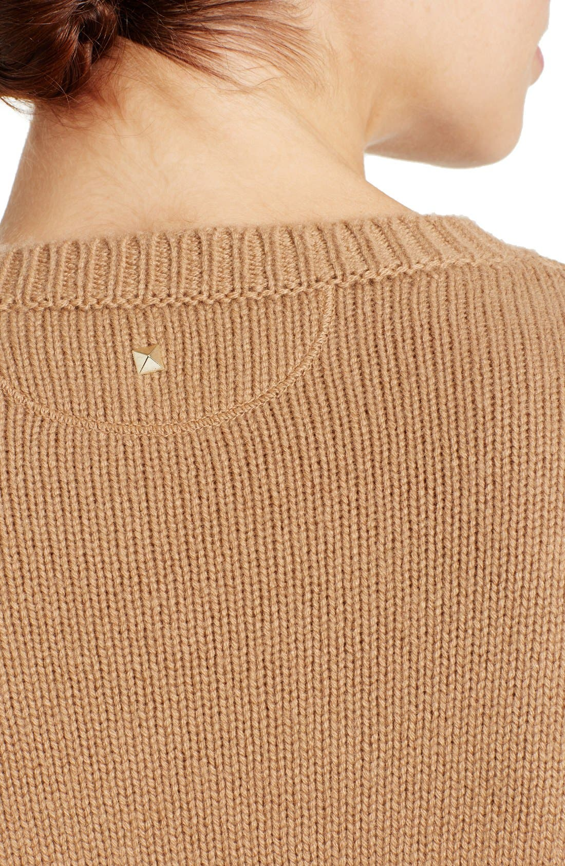 Studded Crewneck Cashmere Sweater,                             Alternate thumbnail 5, color,                             Camel