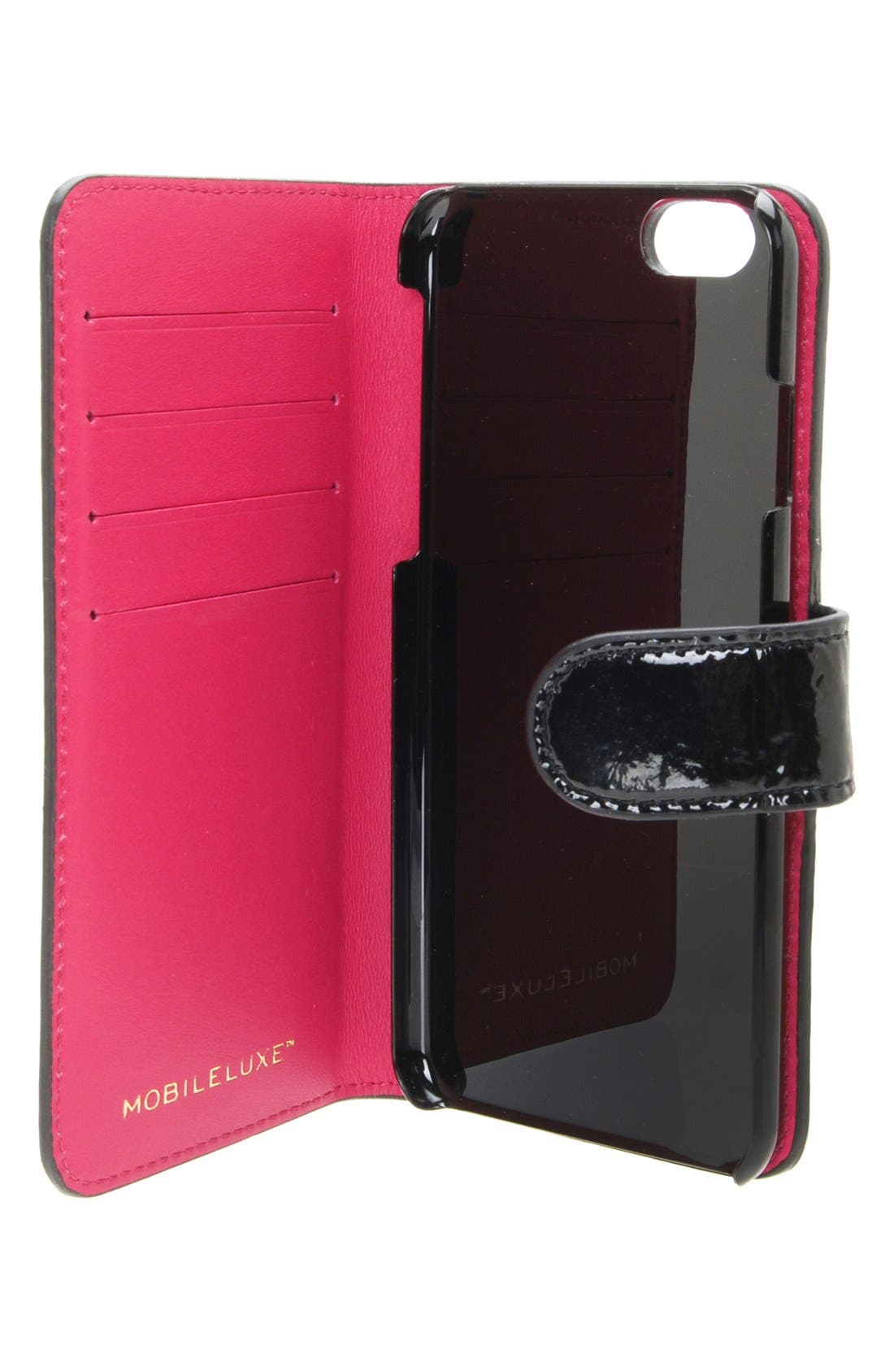 iPhone 6/6s Wallet Case,                             Alternate thumbnail 3, color,                             Patent Black/ Fuchsia