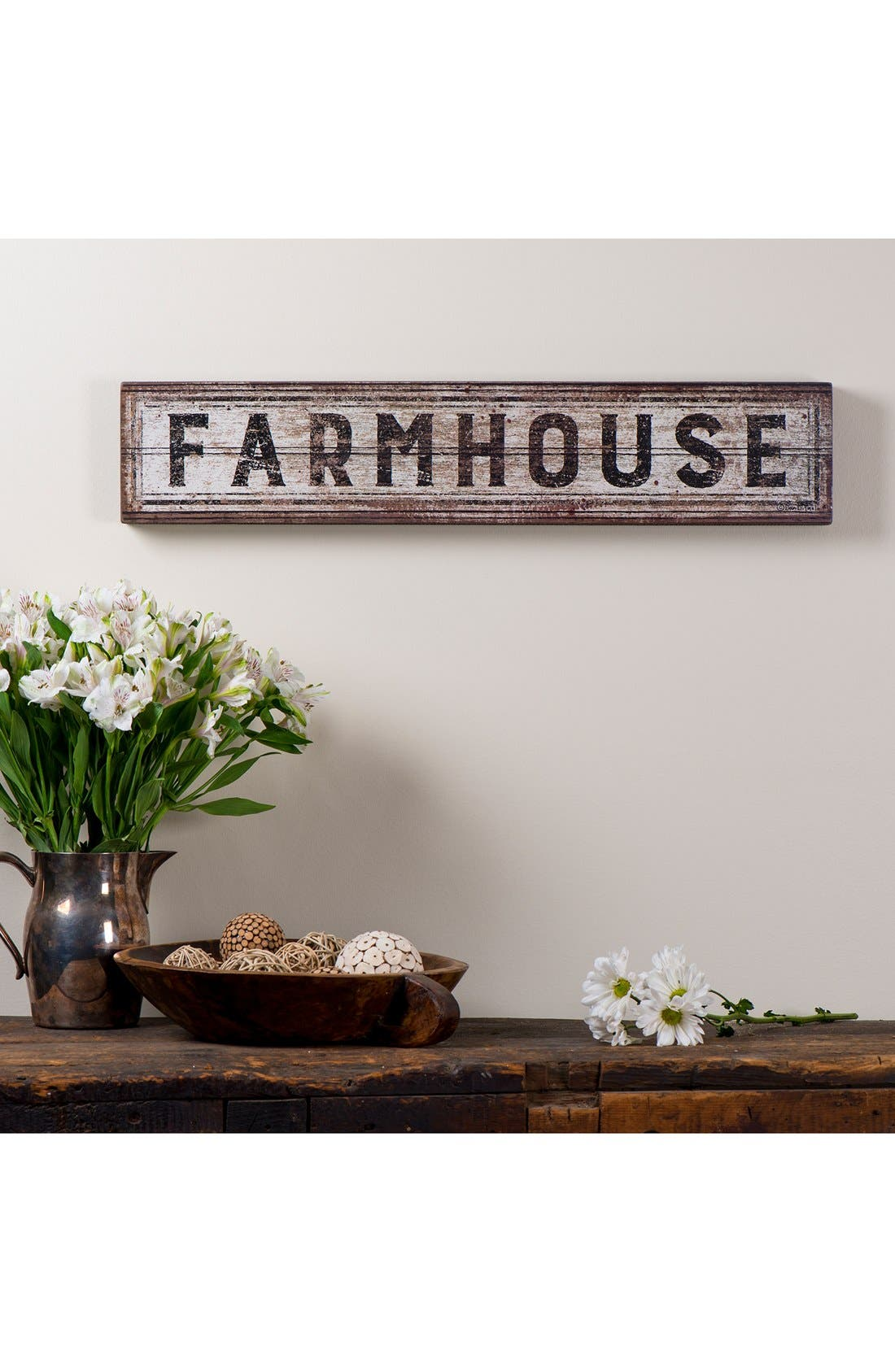 'Farmhouse' Distressed Box Sign,                             Alternate thumbnail 2, color,                             White