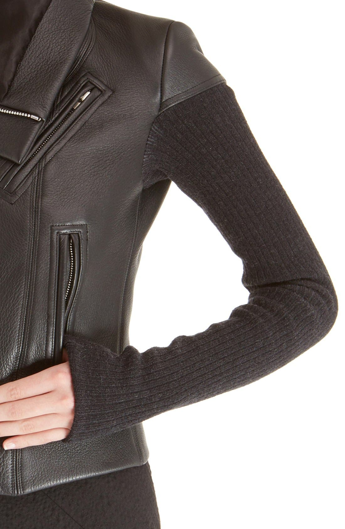 Leather Biker Jacket,                             Alternate thumbnail 5, color,                             Black