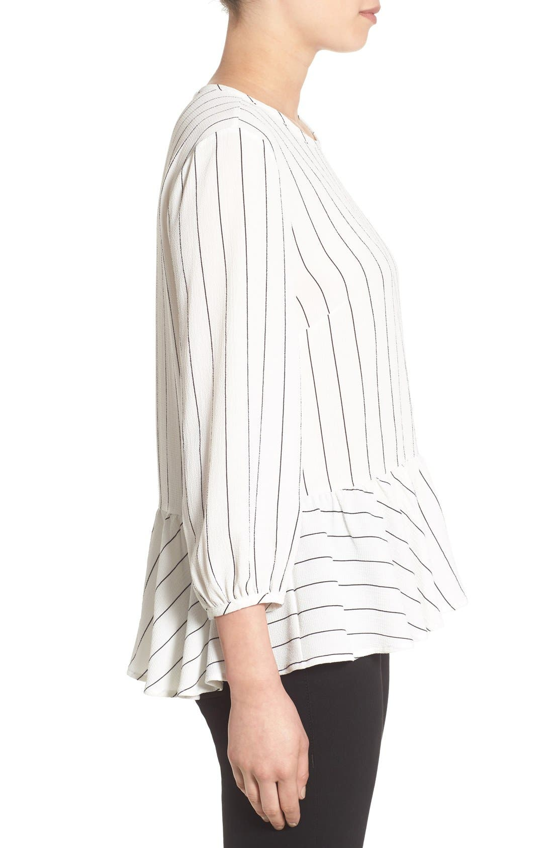 Stripe Ruffle Hem Shirt,                             Alternate thumbnail 4, color,                             Ivory Jules Stripe