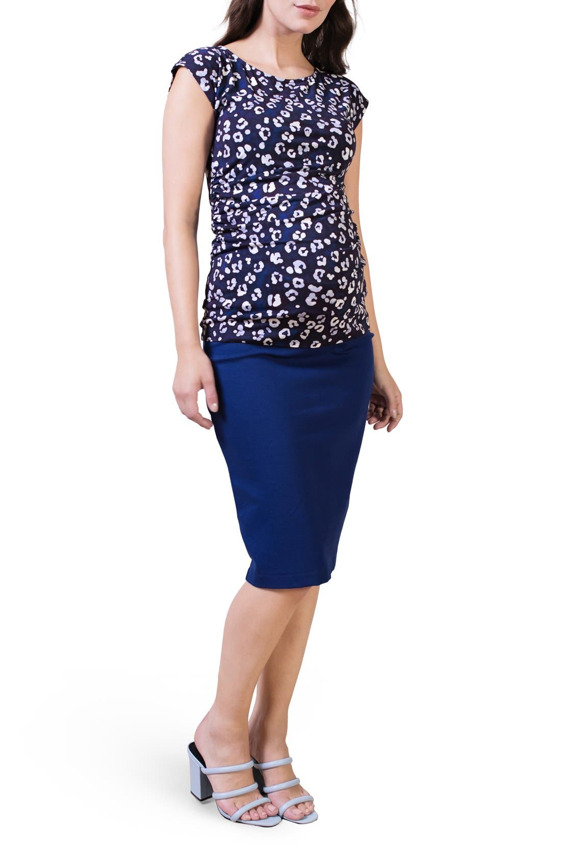 Maternity Pencil Skirt,                             Alternate thumbnail 3, color,                             Rich Navy