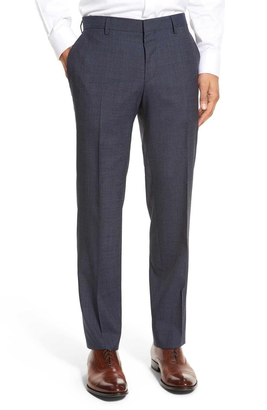 Main Image - BOSS 'Genesis' Flat Front Houndstooth Wool Trousers