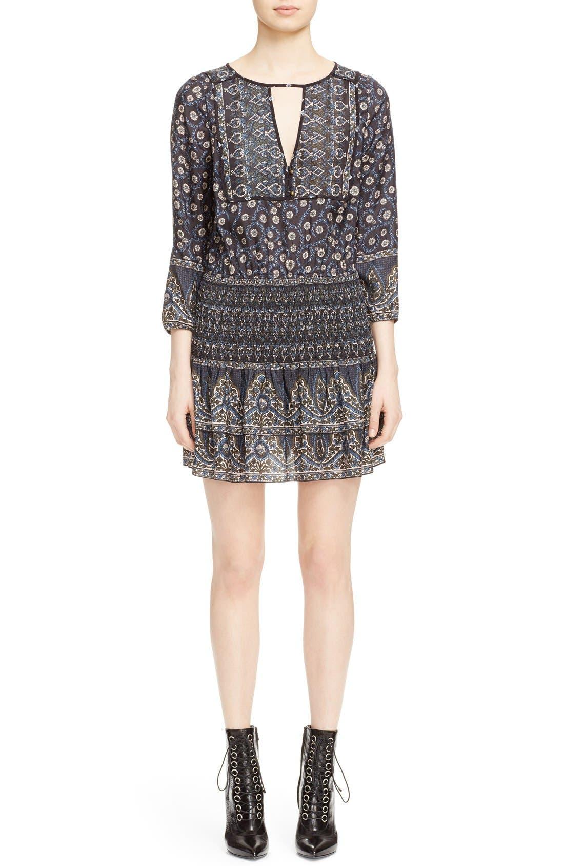 Main Image - Veronica Beard 'Makai' Floral Print Silk Ruffle Hem Dress