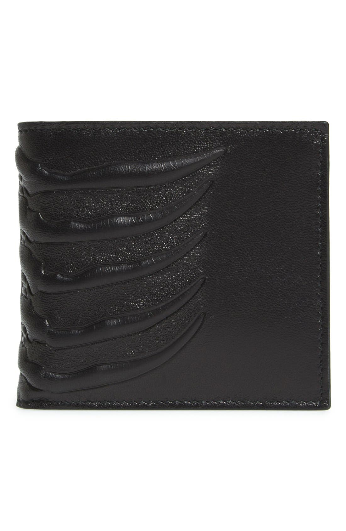Rib Cage Leather Wallet,                         Main,                         color, Black