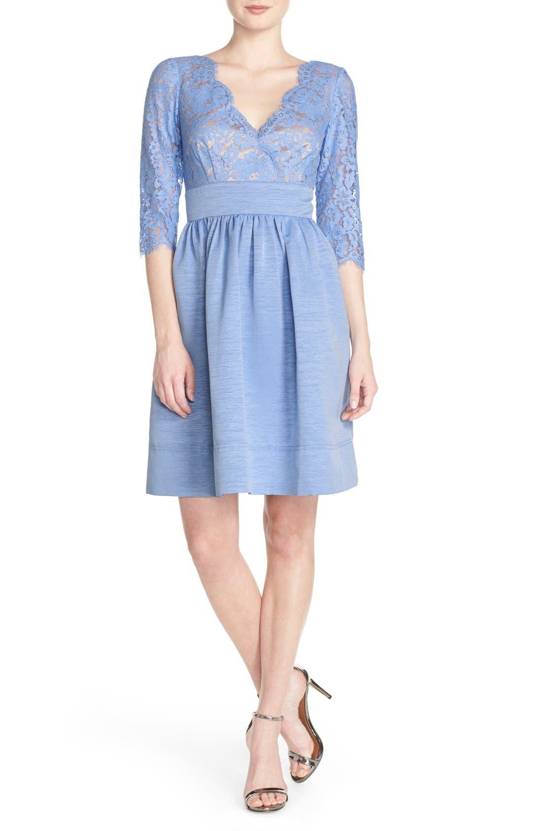 Alternate Image 1 Selected - Eliza J Lace & Faille Dress (Regular & Petite)