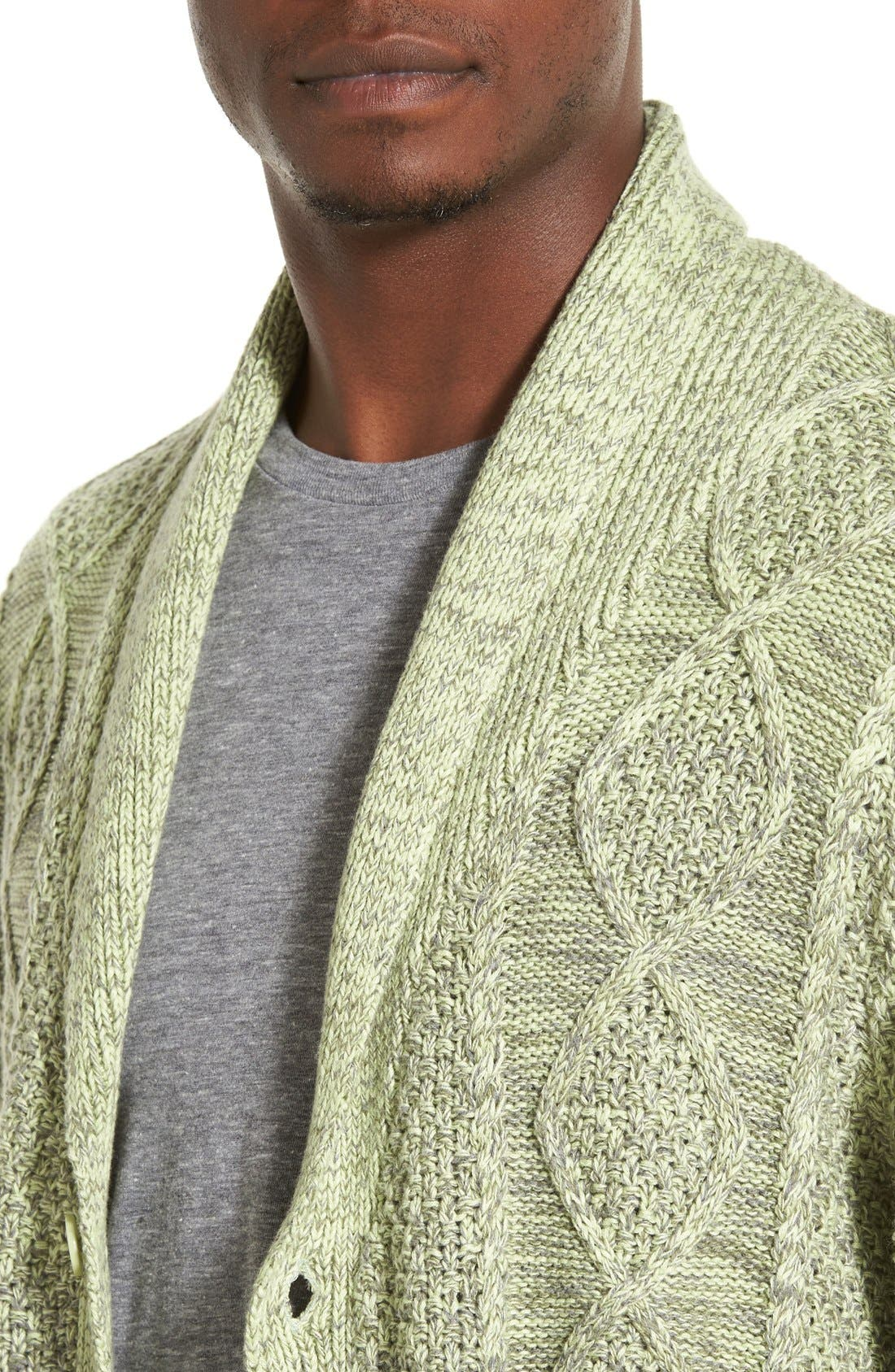 'Boston' Colorblock Mixed Knit Shawl Collar Cardigan,                             Alternate thumbnail 4, color,                             Olive