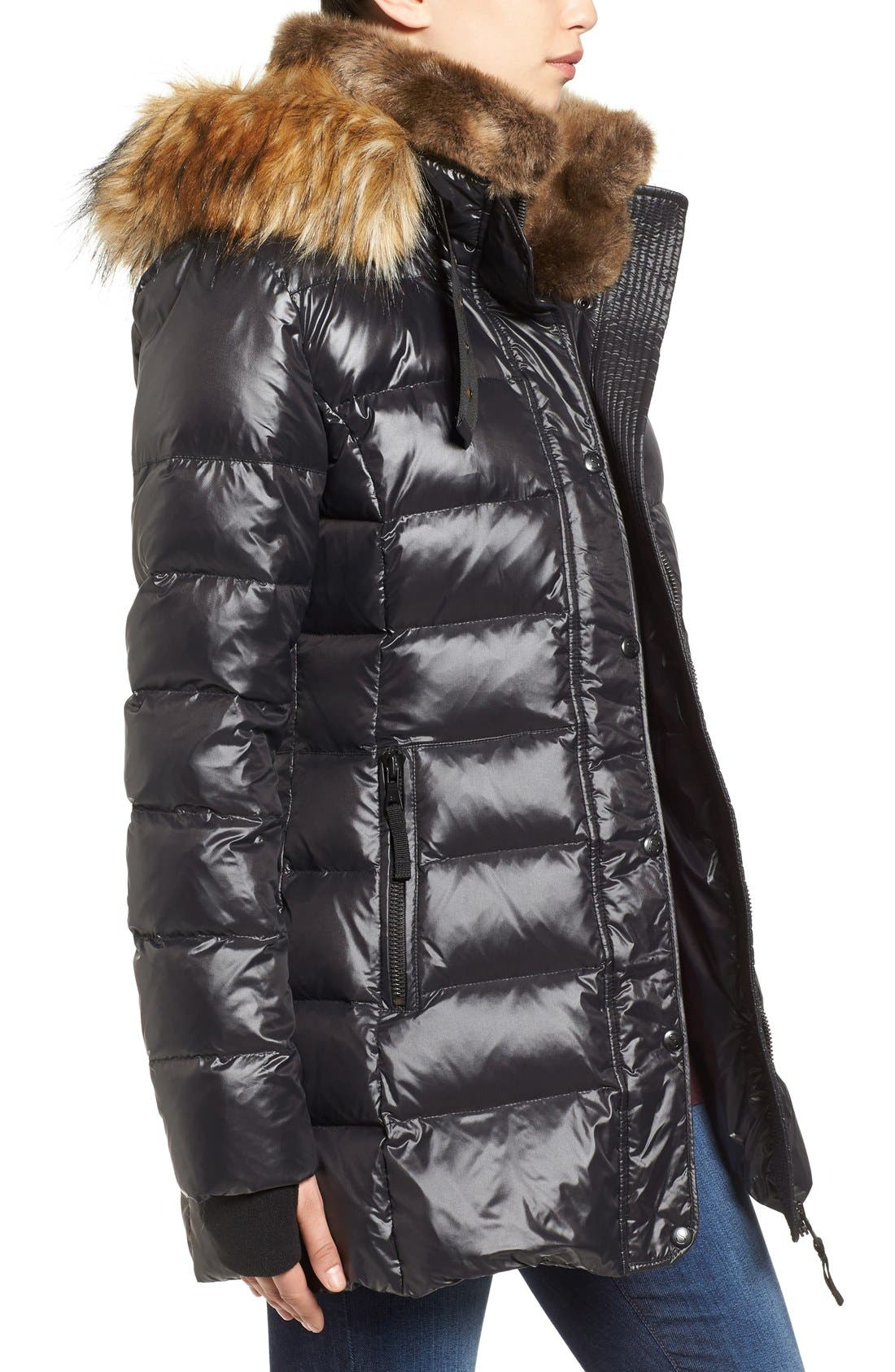 'Chelsea' Gloss Down Jacket with Removable Hood and Faux Fur Trim,                             Alternate thumbnail 3, color,                             Jet