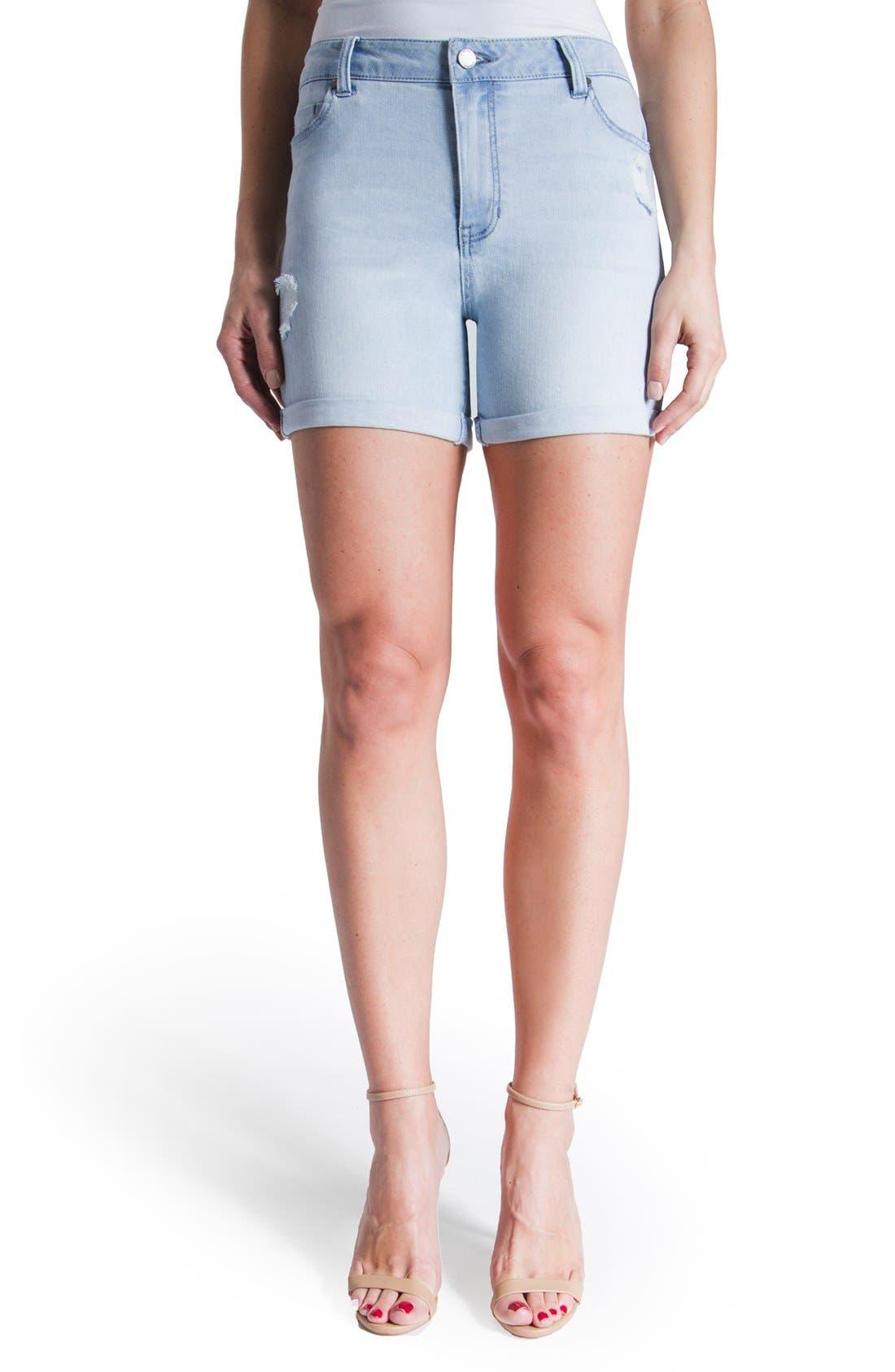Vickie Denim Shorts,                         Main,                         color, Super Bleach