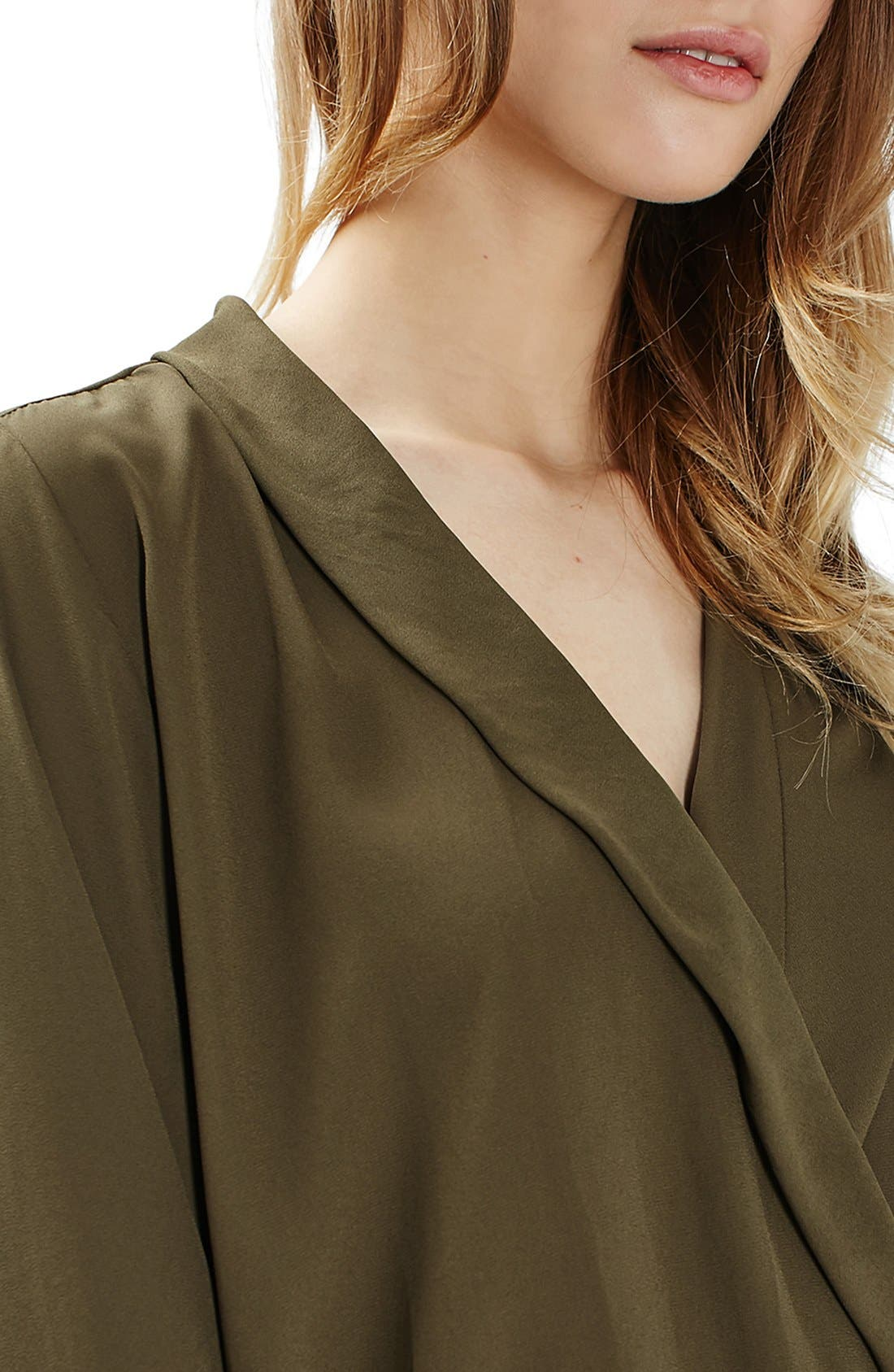 Faux Wrap Shirt Bodysuit,                             Alternate thumbnail 4, color,                             Olive