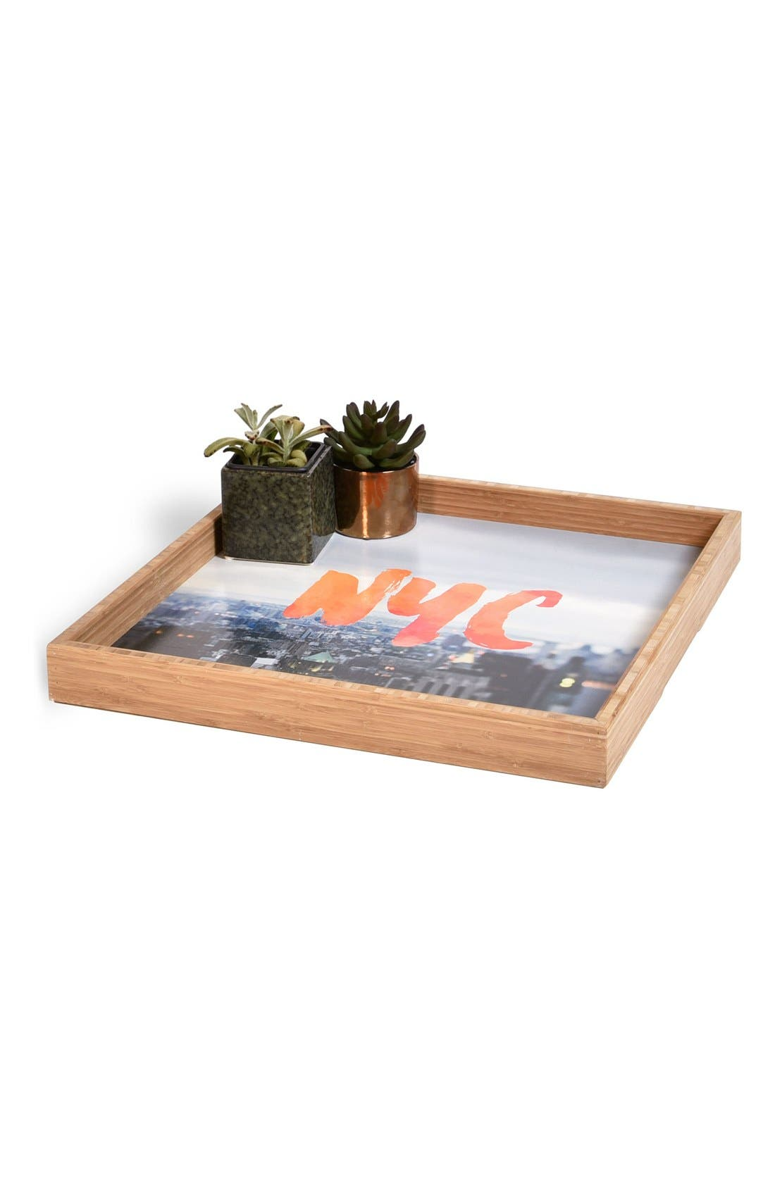 'NYC Skyline' Decorative Serving Tray,                             Alternate thumbnail 2, color,                             Orange
