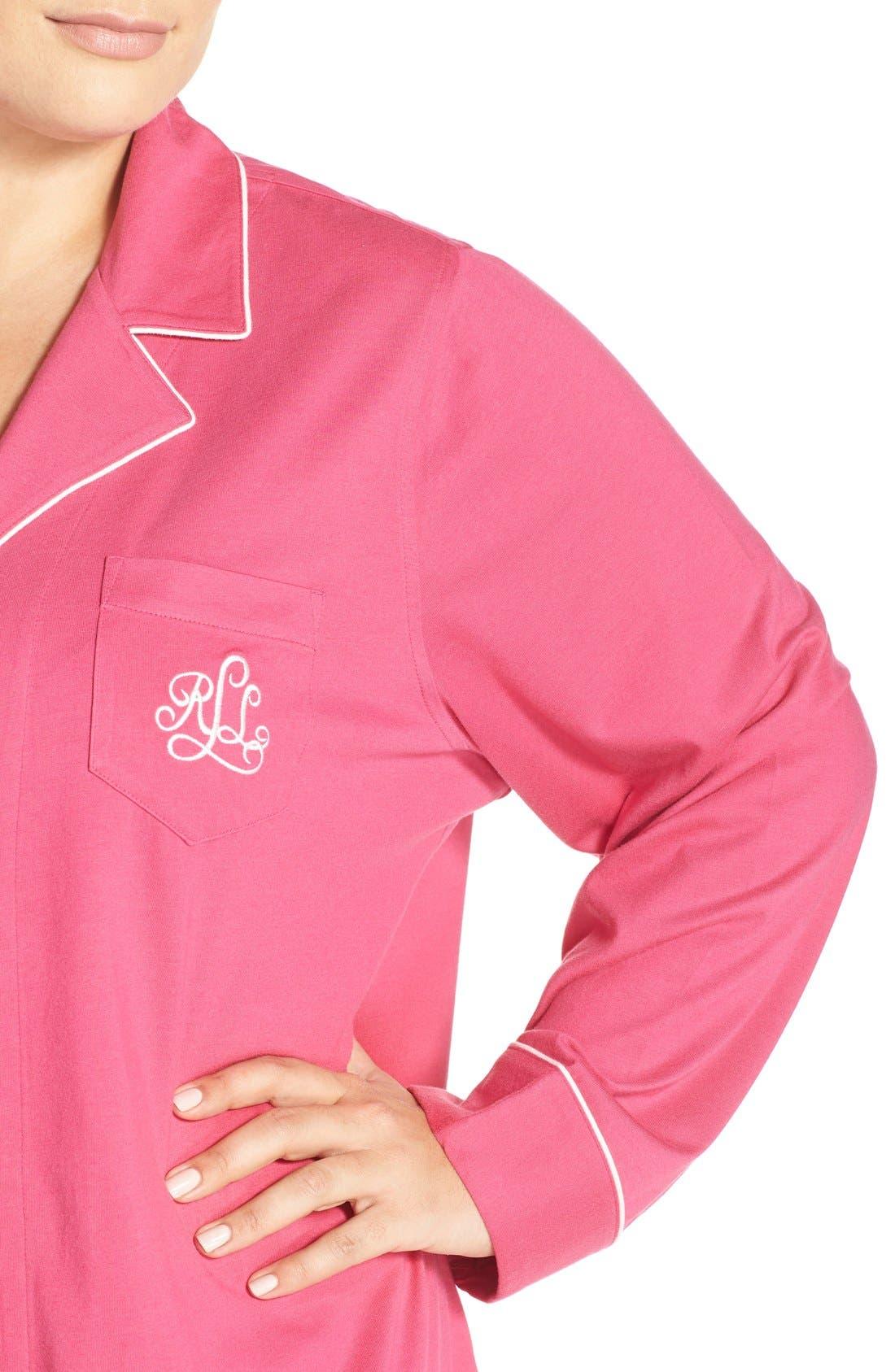 Alternate Image 4  - Lauren Ralph Lauren Knit Pajamas (Plus Size) (Online Only)